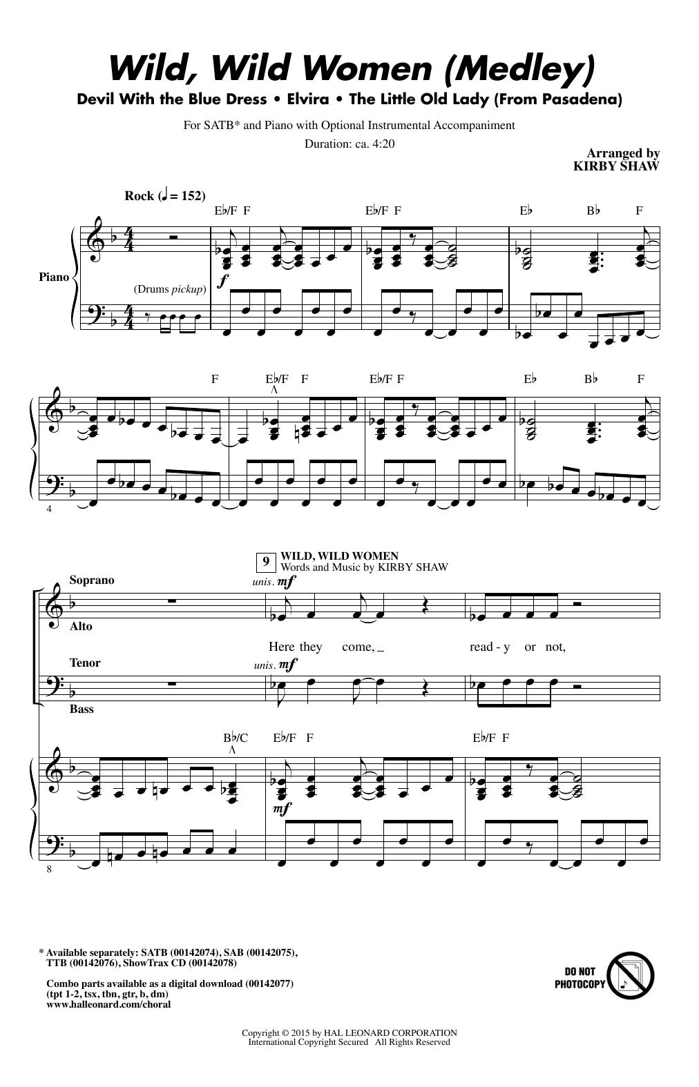 Partition chorale Wild, Wild Women (Medley) de  - SATB
