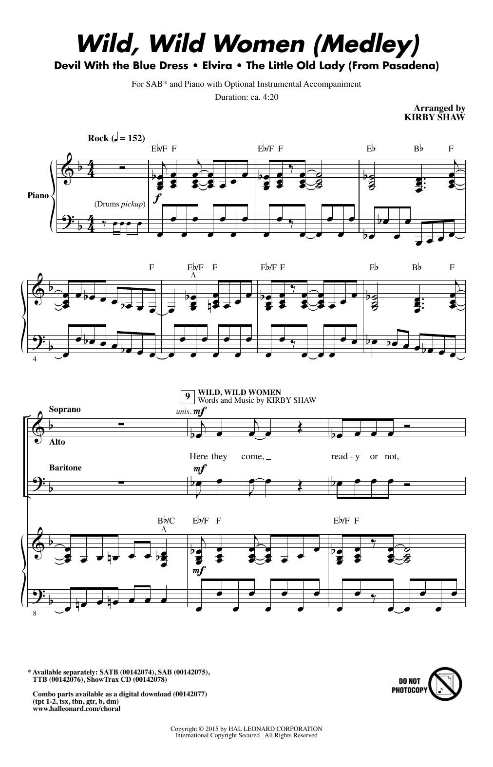 Wild, Wild Women (Medley) Sheet Music