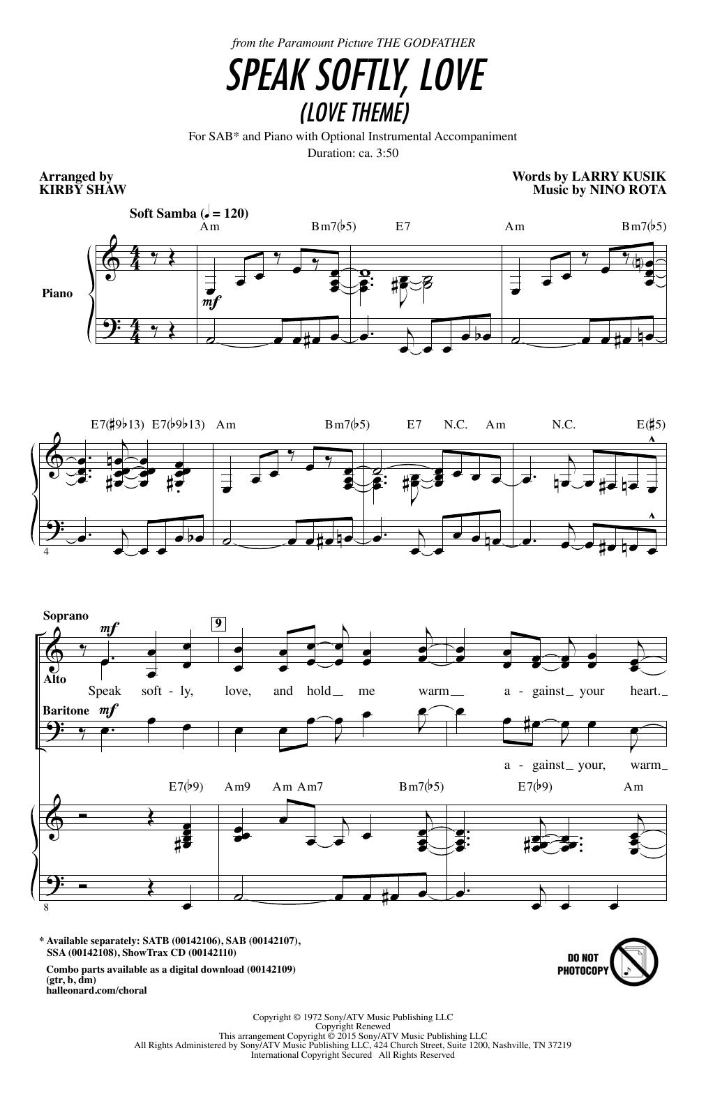 Speak Softly Love (Godfather Theme) (arr. Kirby Shaw) Sheet Music