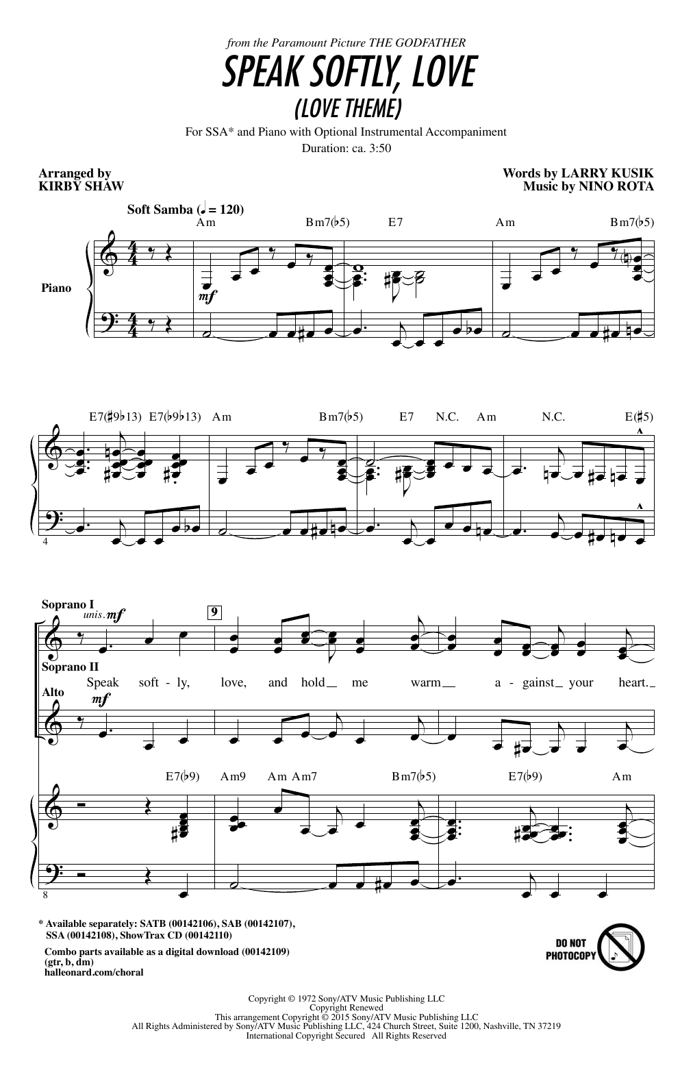 Speak Softly Love (Godfather Theme) (arr. Kirby Shaw) Sheet Music