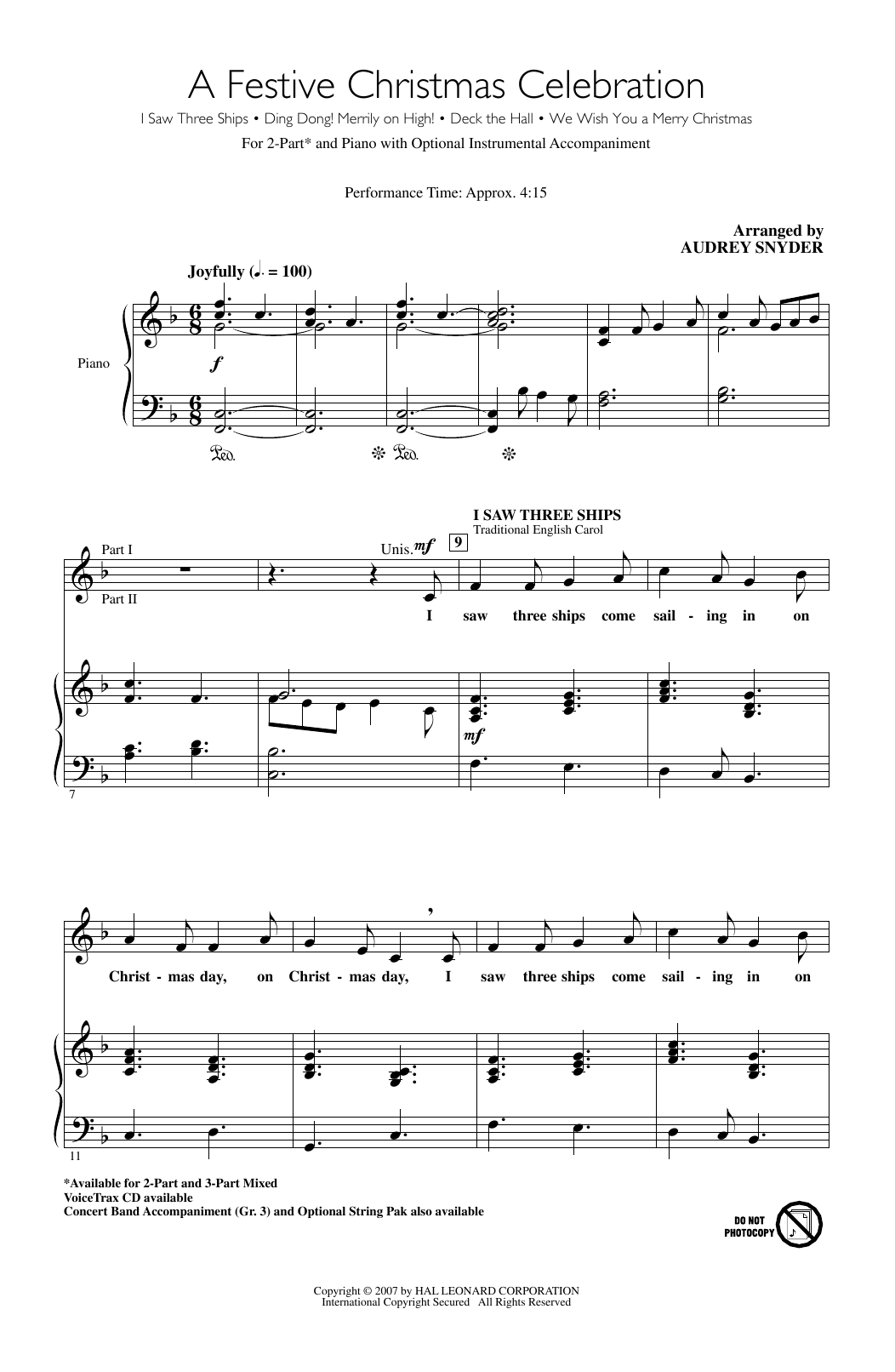 Partition chorale A Festive Christmas Celebration de Traditional Welsh Carol - 2 voix