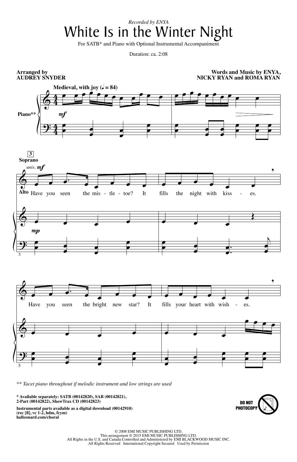 White Is In The Winter Night (arr. Audrey Snyder) (SATB Choir)