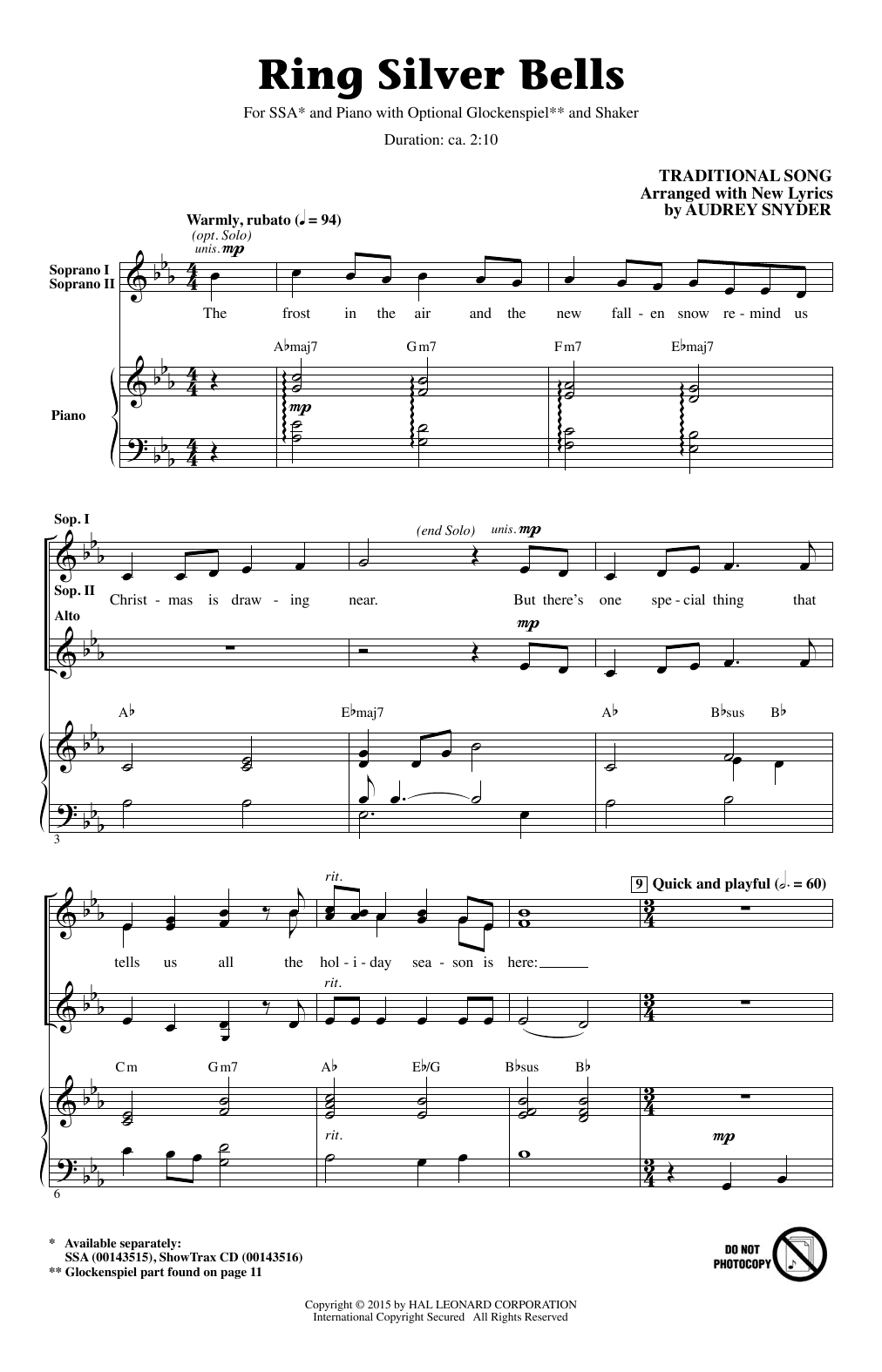 Ring Silver Bells Sheet Music