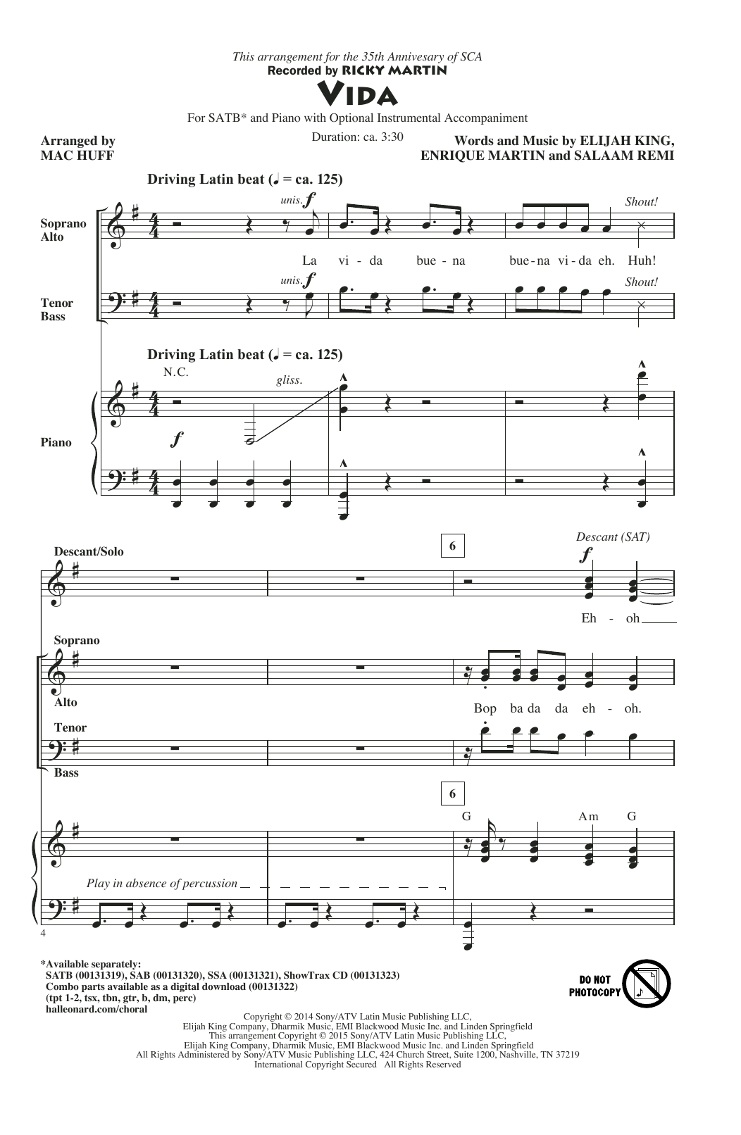 Vida (arr. Mac Huff) Sheet Music