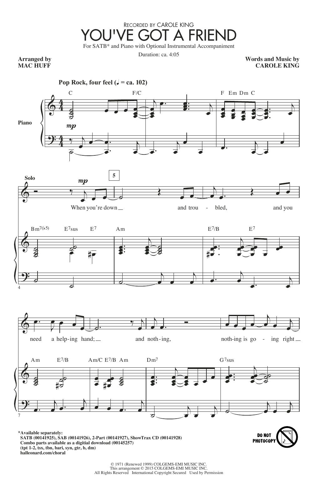 Partition chorale You've Got A Friend de James Taylor - SATB