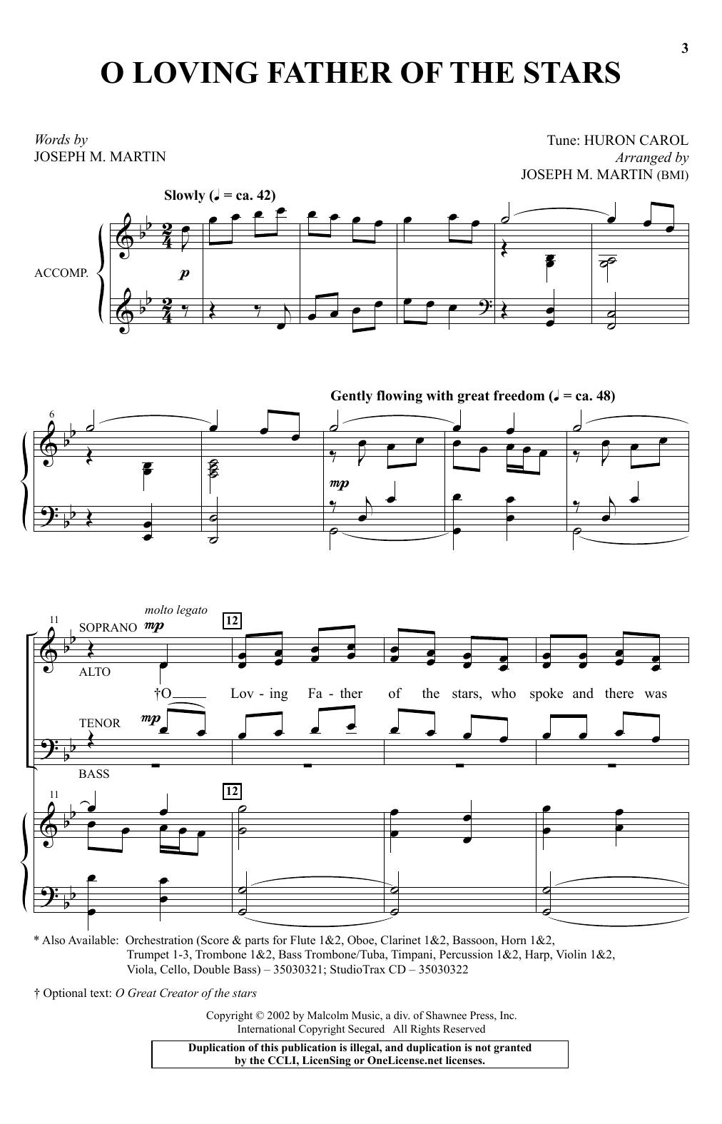 Partition chorale O Loving Father Of The Stars de Joseph M. Martin - SATB
