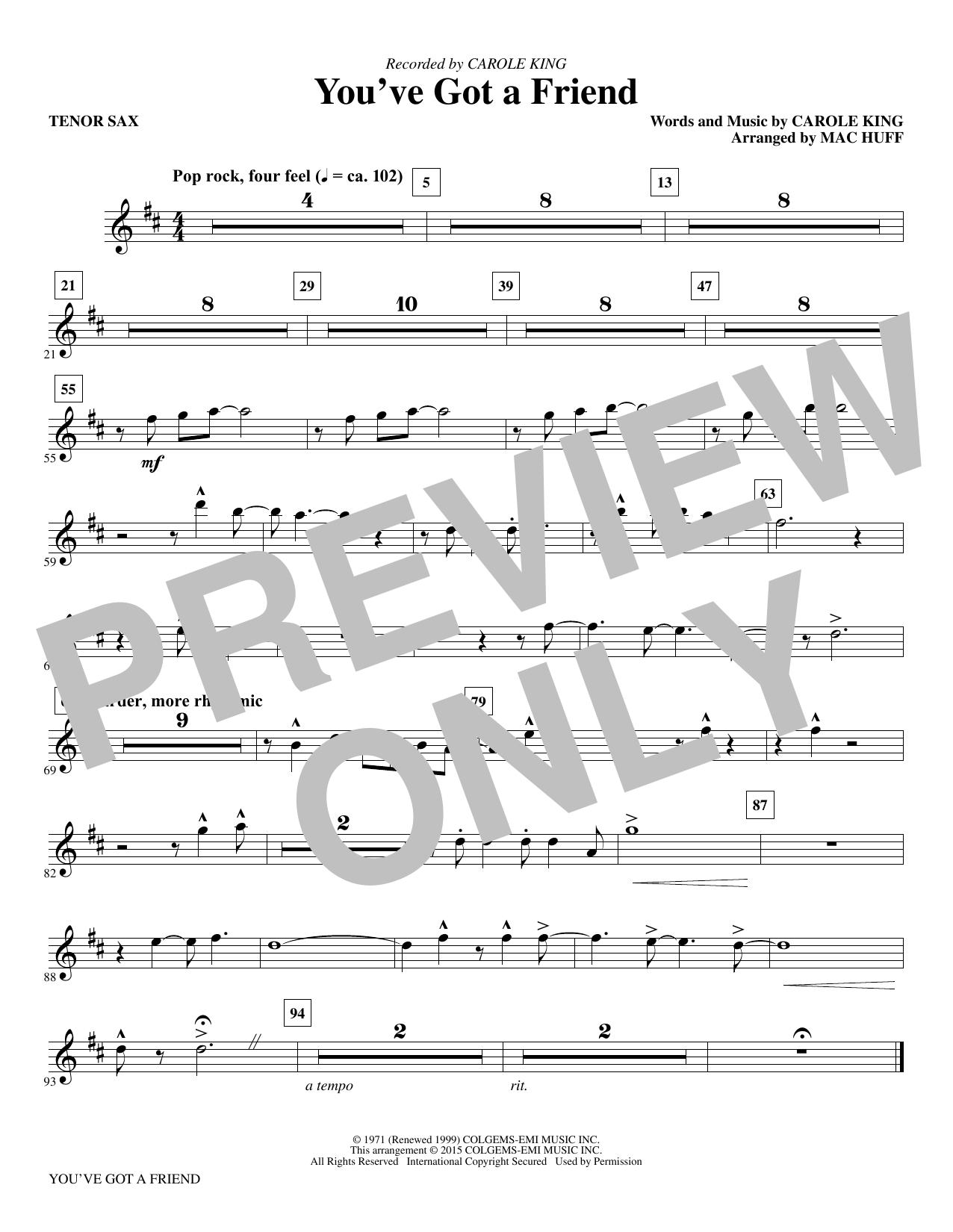 You've Got a Friend - Bb Tenor Saxophone (Choir Instrumental Pak)