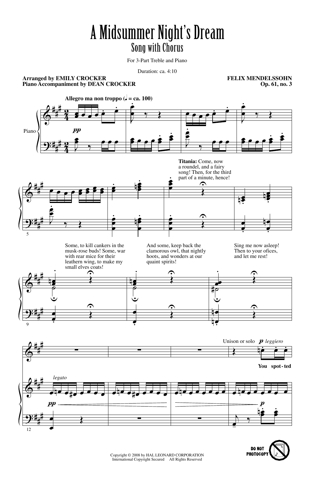 A Midsummer Night's Dream Overture, Excerpt (arr. Emily Crocker) Sheet Music