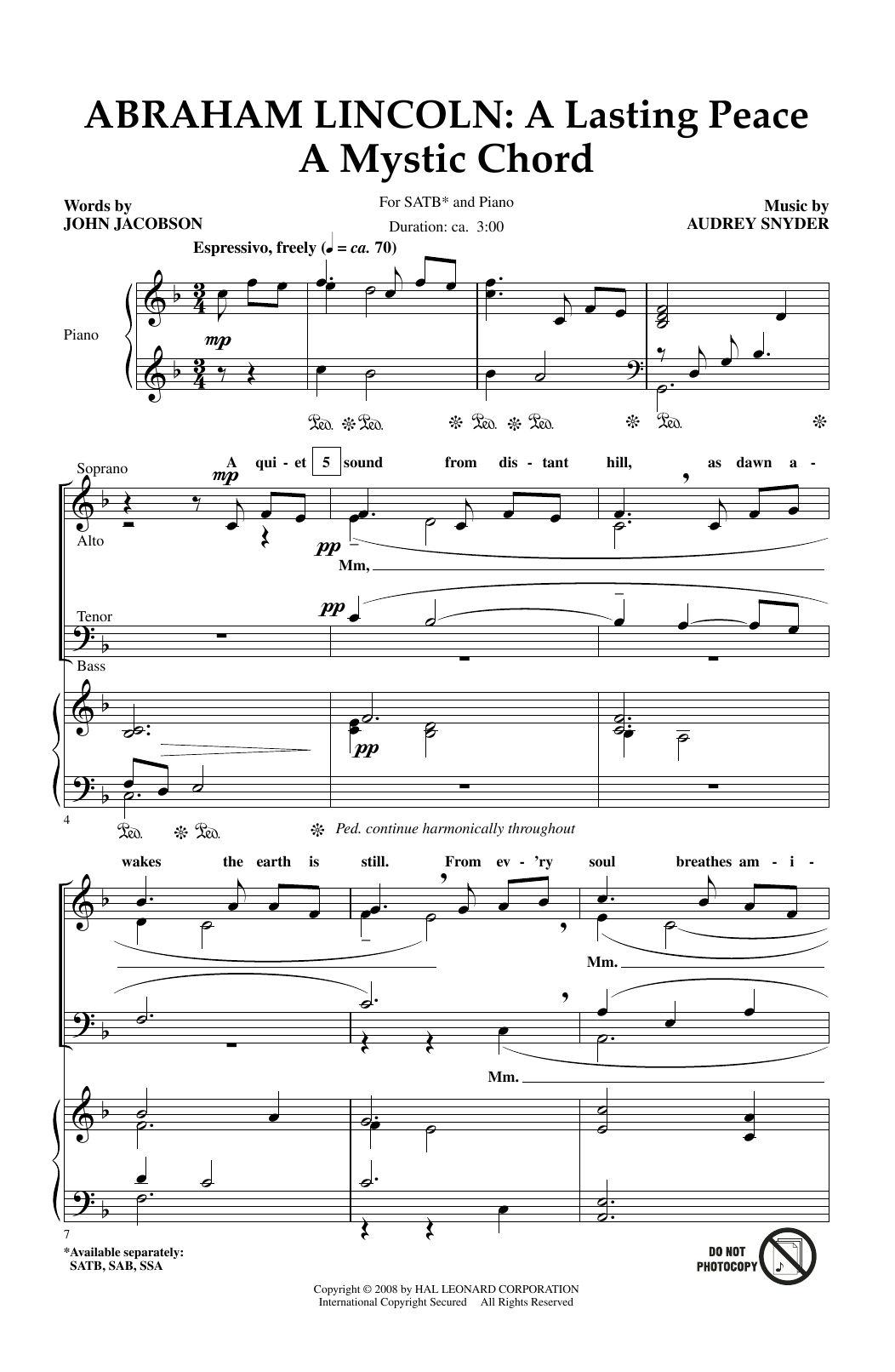 Abraham Lincoln: A Lasting Peace Sheet Music