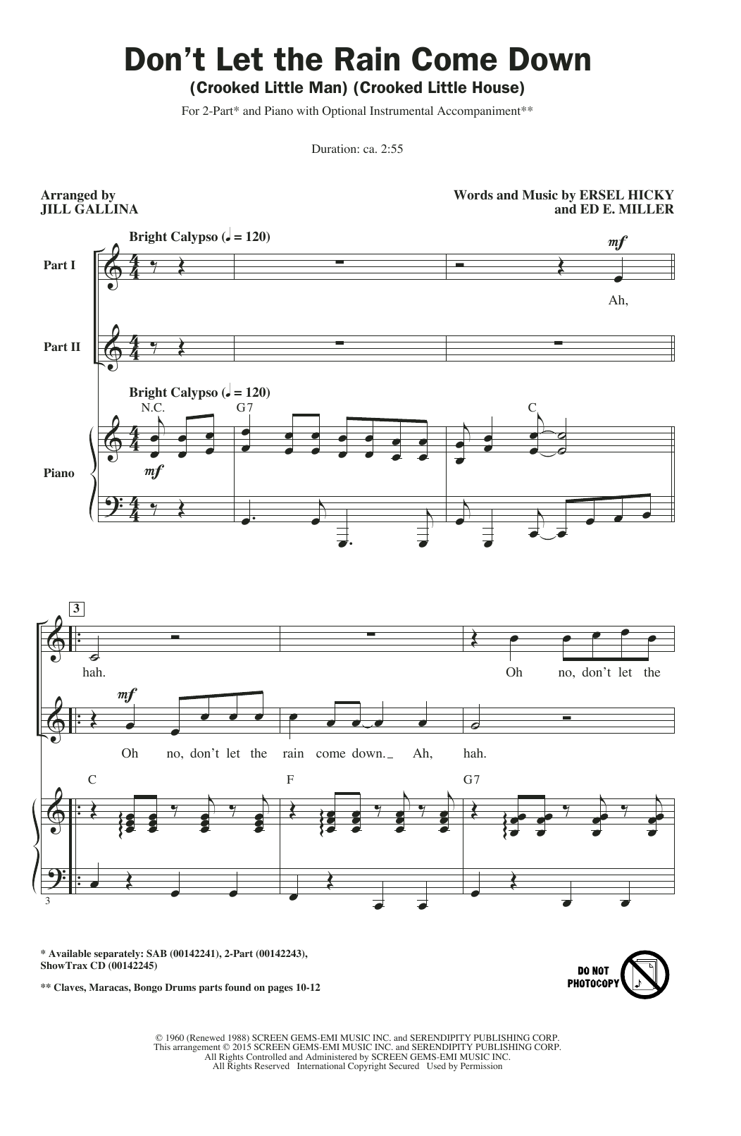Don't Let The Rain Come Down (Crooked Little Man) (Crooked Little House) (arr. Jill Gallina) Sheet Music