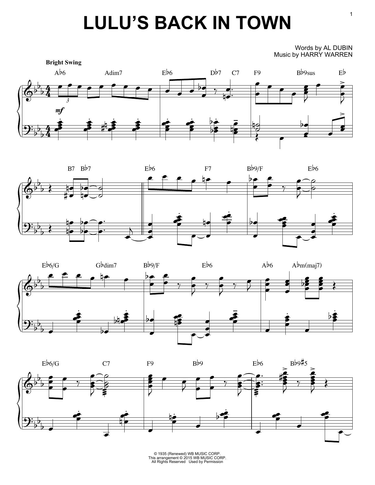 Partition piano Lulu's Back In Town de Harry Warren - Piano Solo