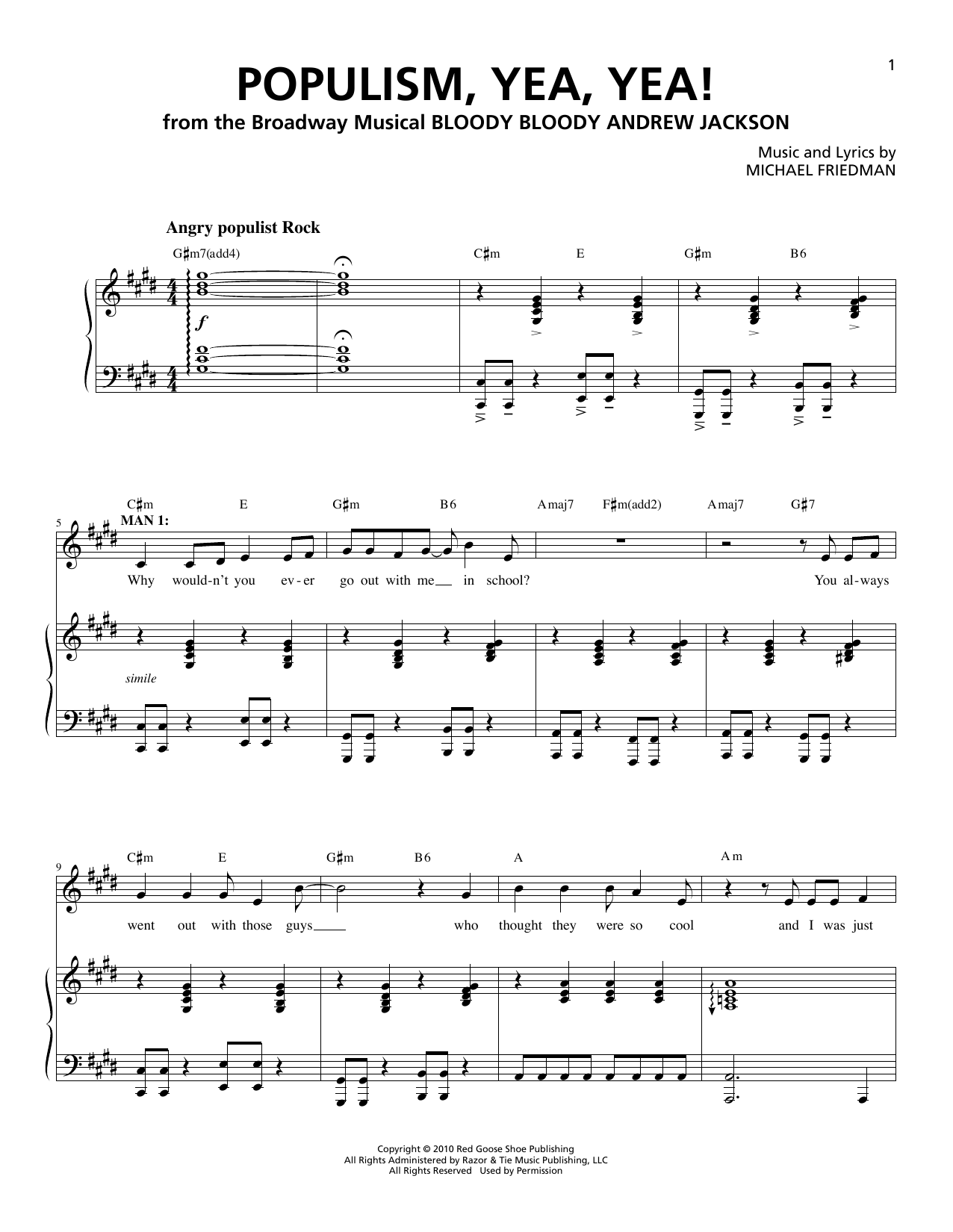 Populism, Yea, Yea! Sheet Music