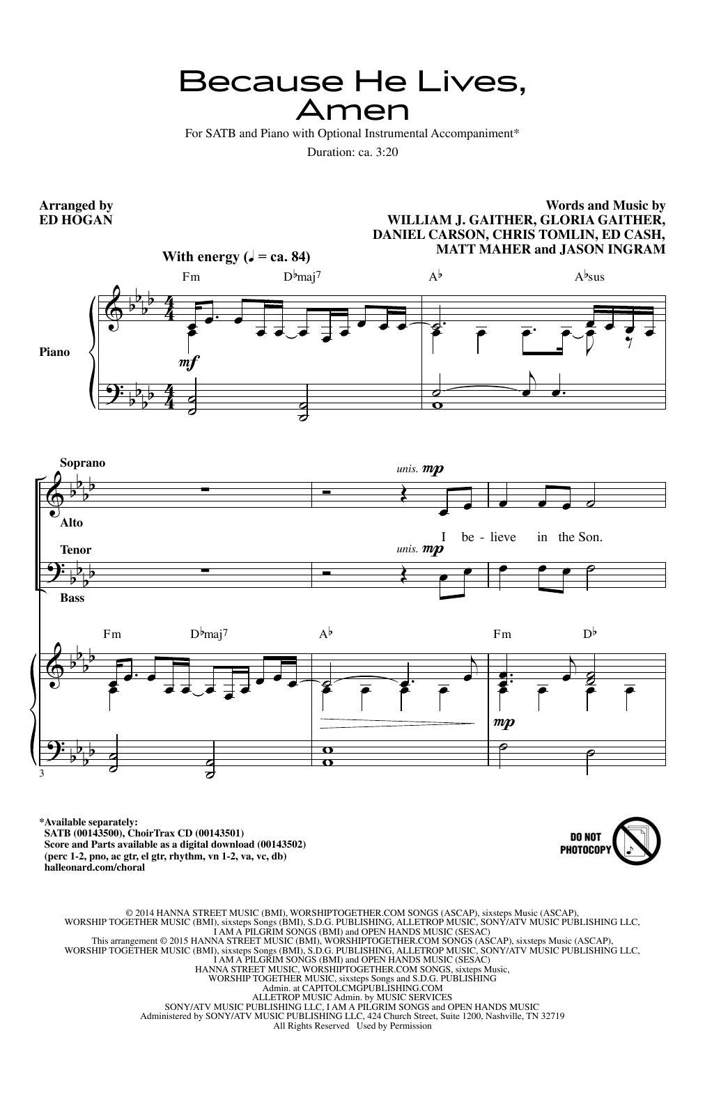 Because He Lives, Amen Sheet Music
