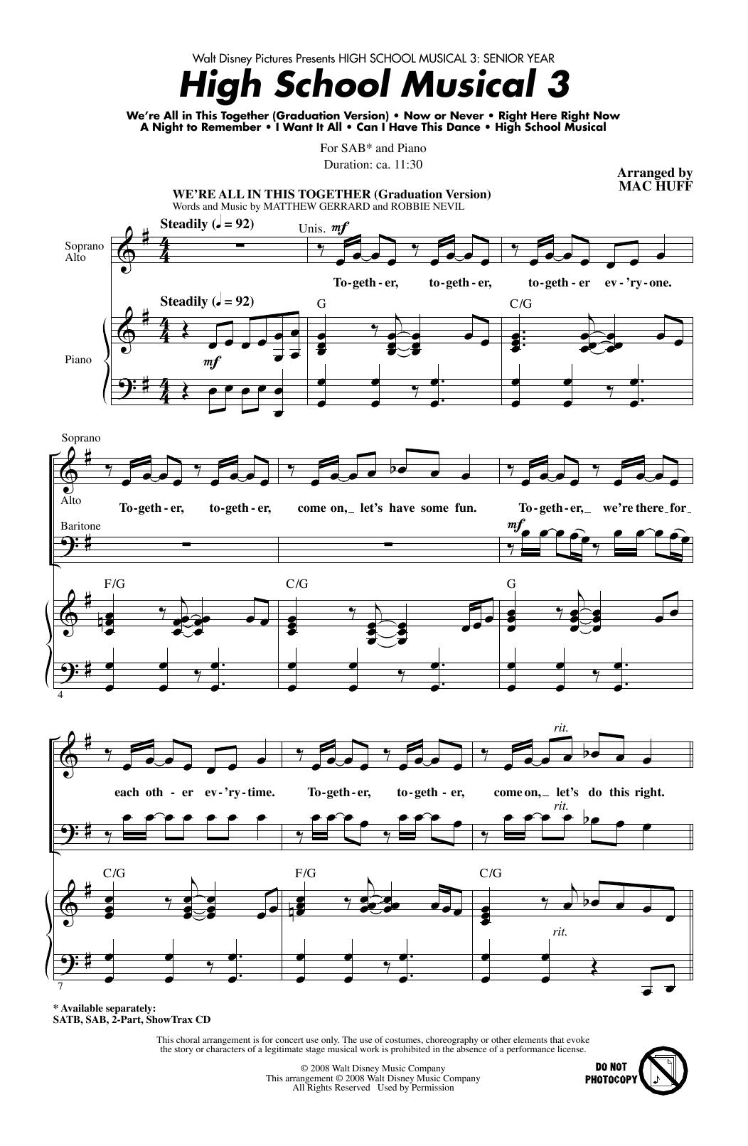 High School Musical 3 (Choral Medley) Sheet Music