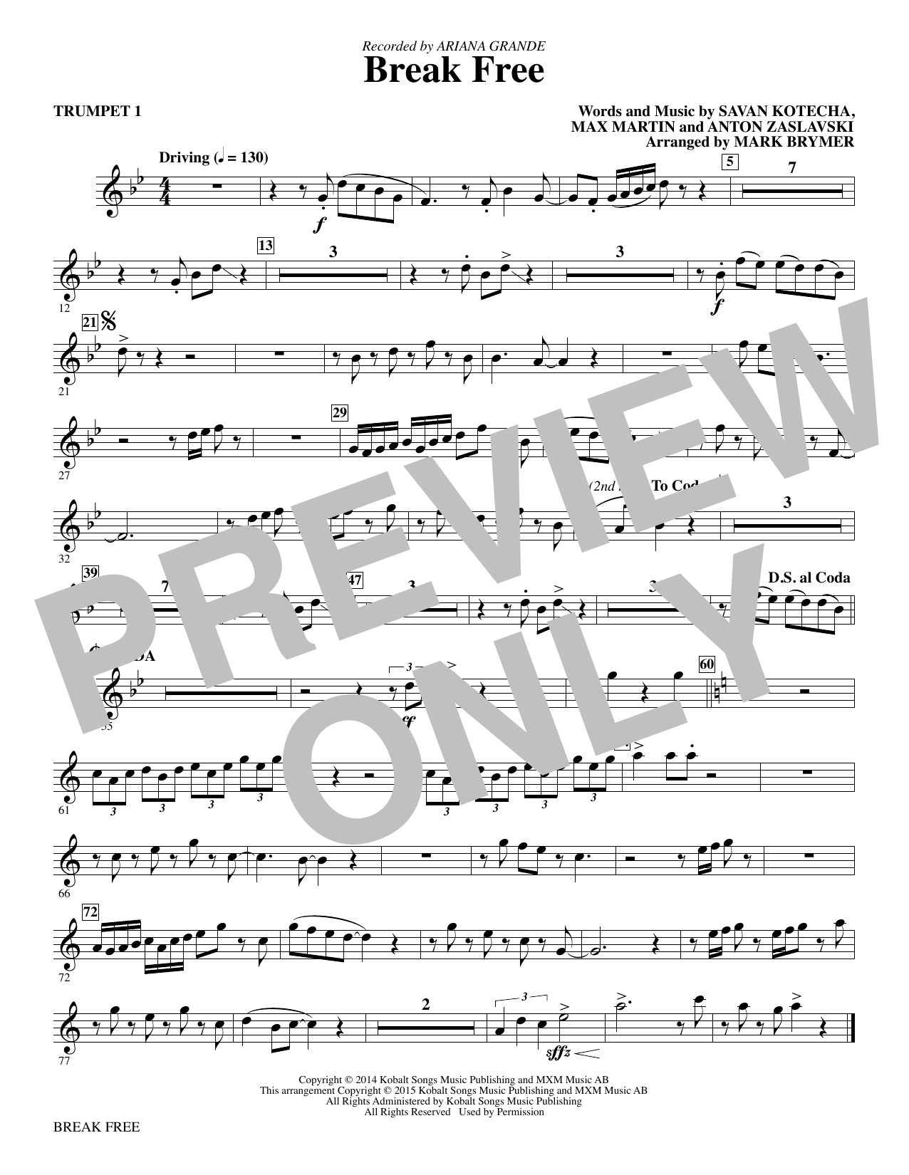 Break Free (complete set of parts) sheet music for orchestra/band by Mark Brymer, Anton Zaslavski, Ariana Grande, Ariana Grande feat. Zedd, Max Martin and Savan Kotecha. Score Image Preview.