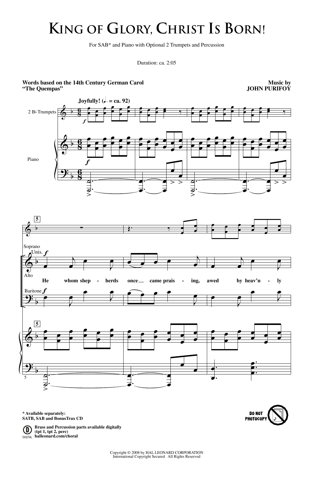 King Of Glory, Christ Is Born! Sheet Music