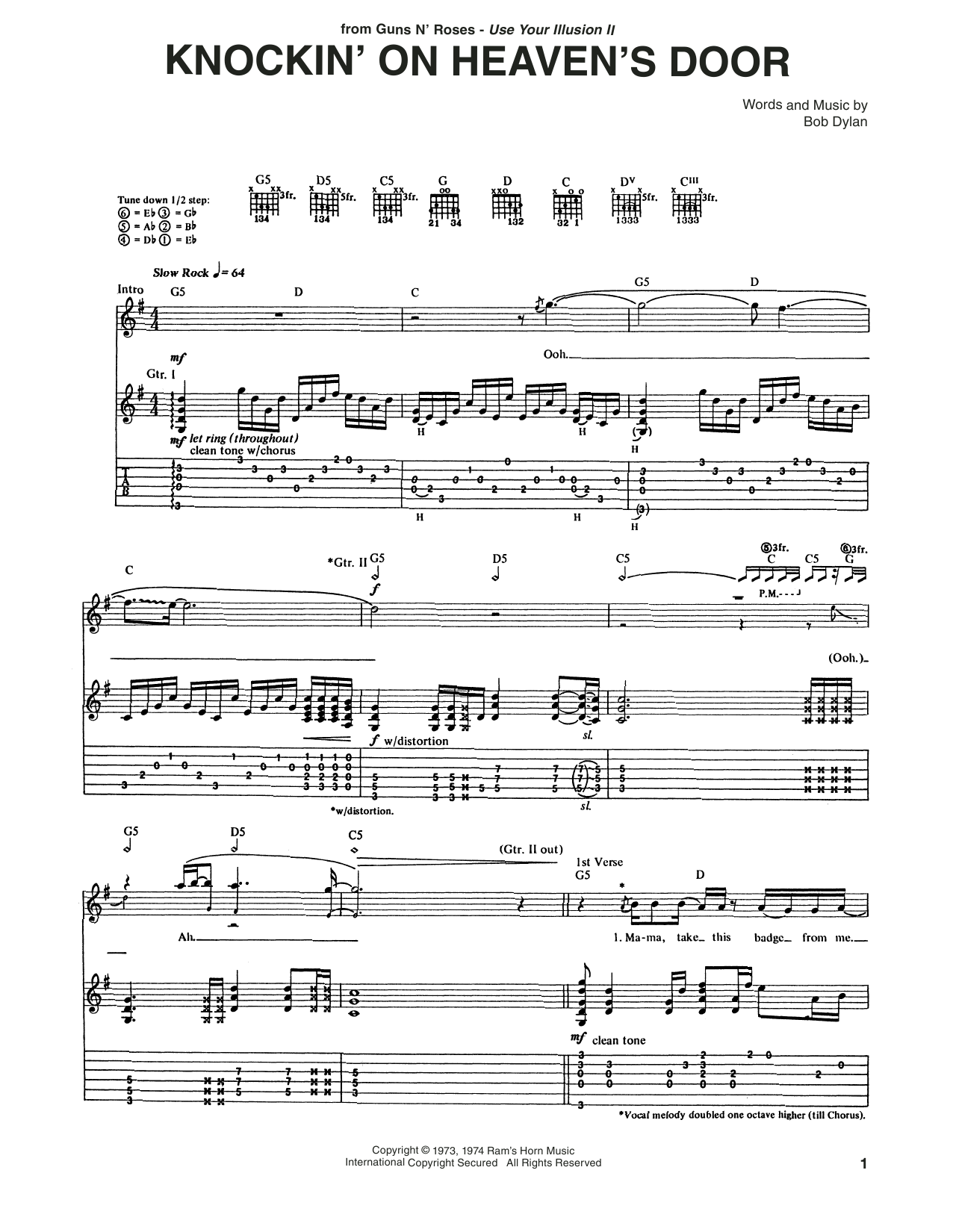 Tablature guitare Knockin' On Heaven's Door de Guns N' Roses - Tablature Guitare