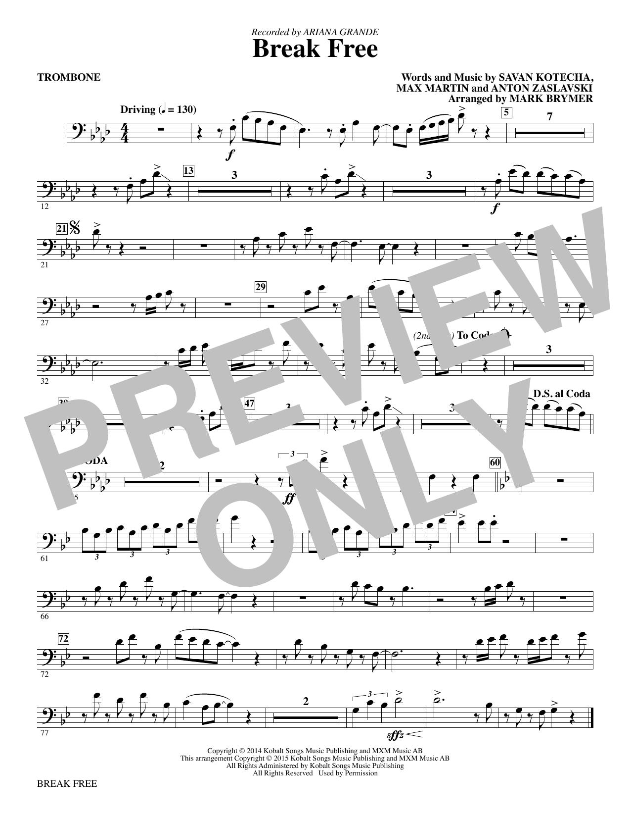 Break Free - Trombone Sheet Music