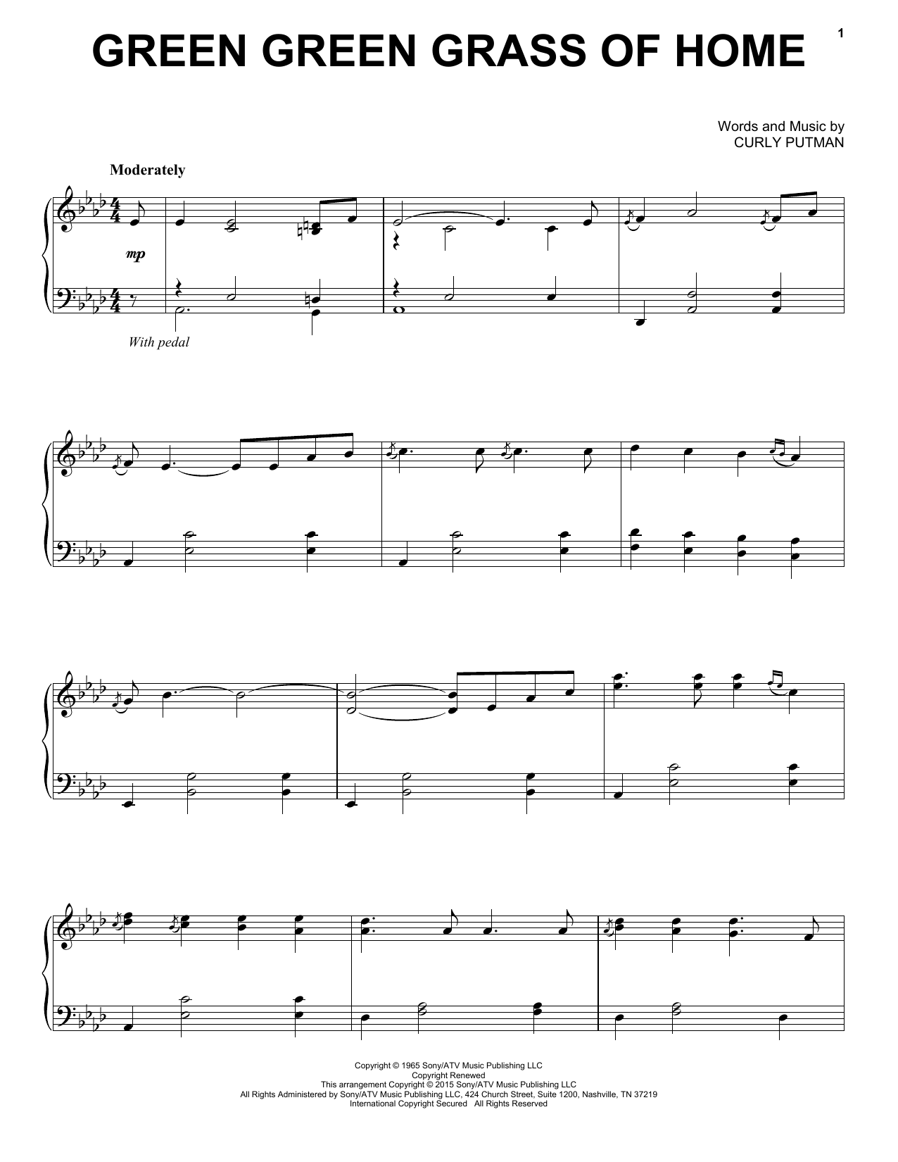 Partition piano Green Green Grass Of Home de Porter Wagoner - Piano Solo