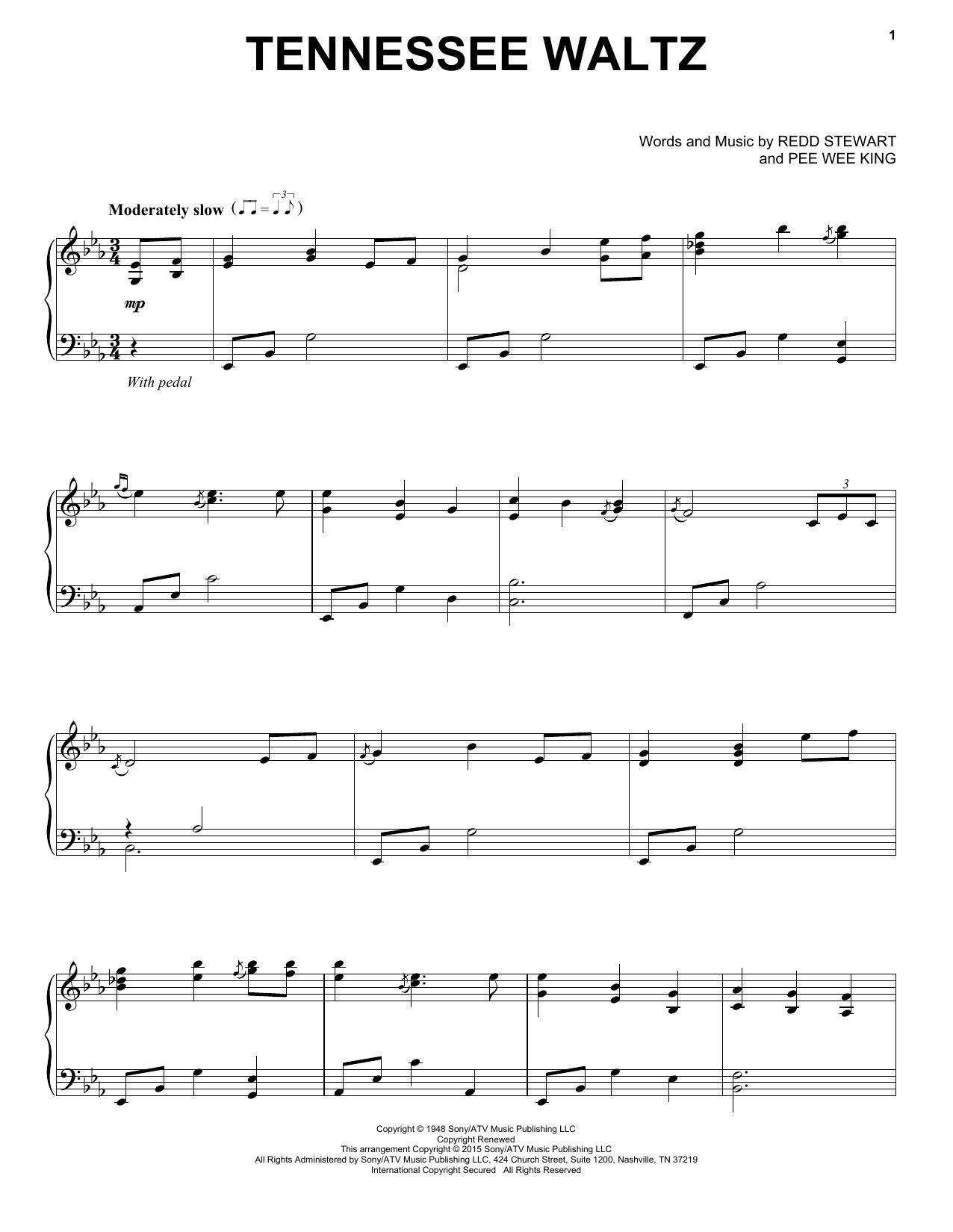 Partition piano Tennessee Waltz de Patty Page - Piano Solo