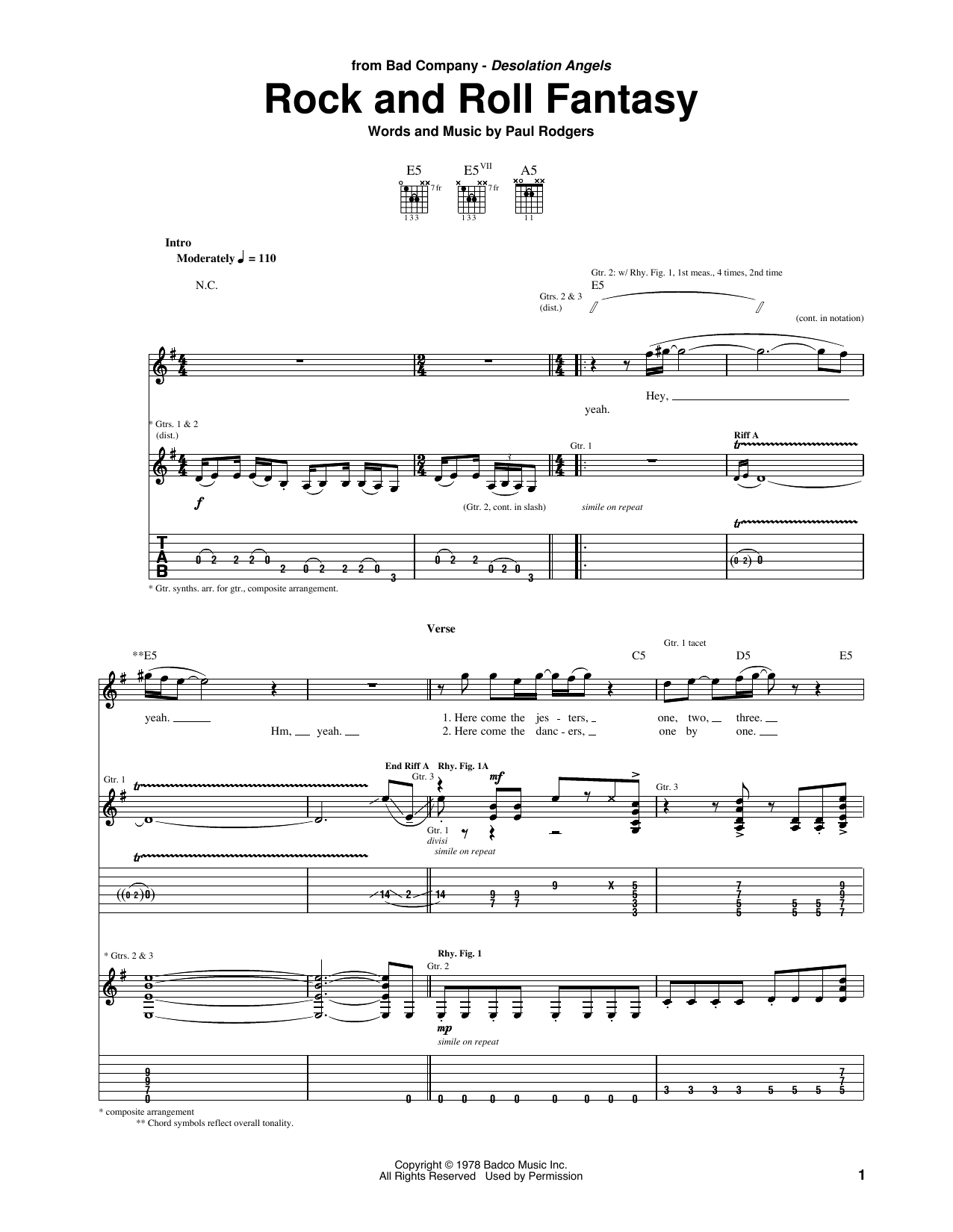 Rock And Roll Fantasy Sheet Music
