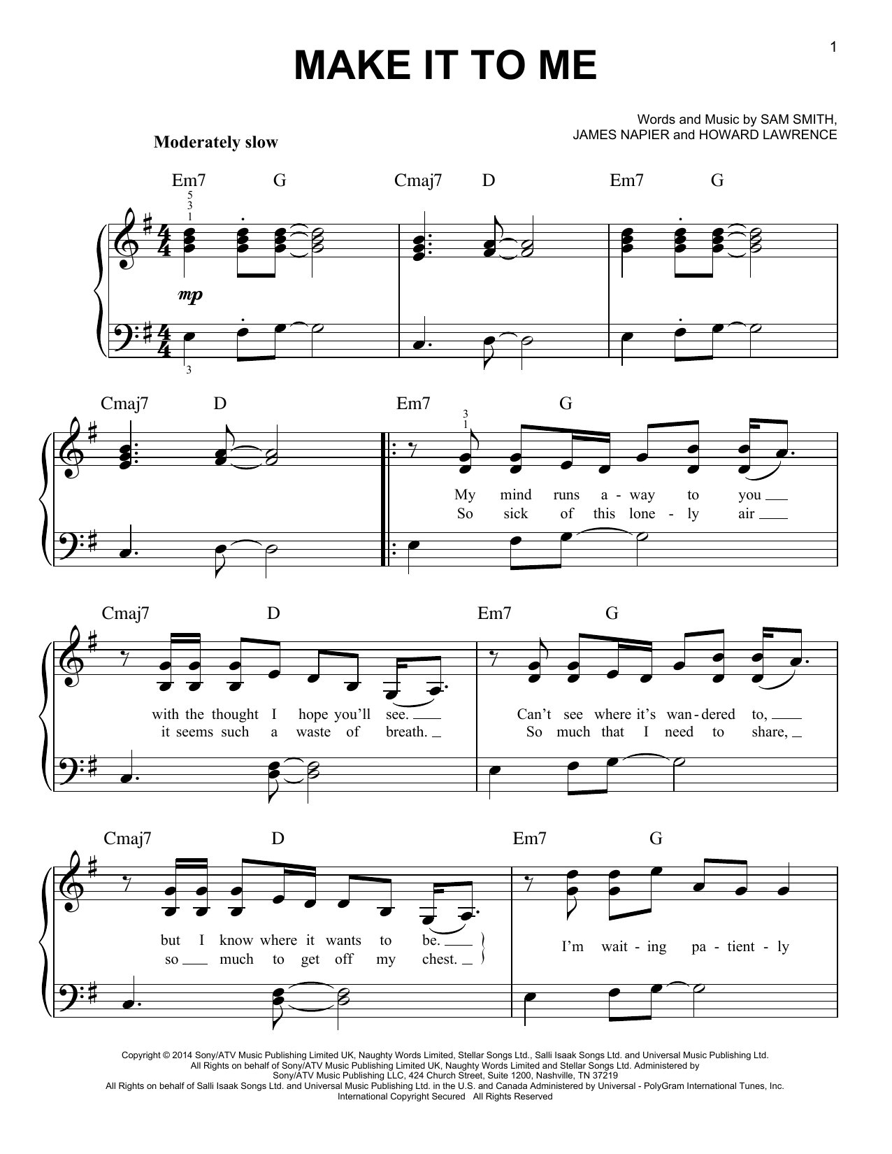 Make It To Me Sheet Music