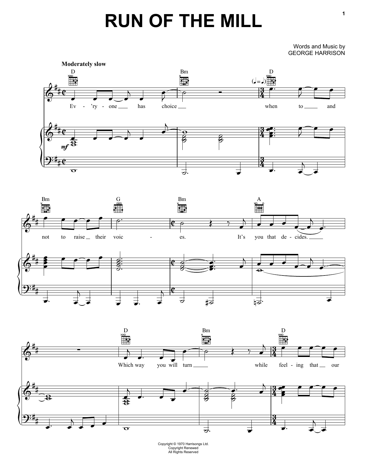 Run Of The Mill Sheet Music