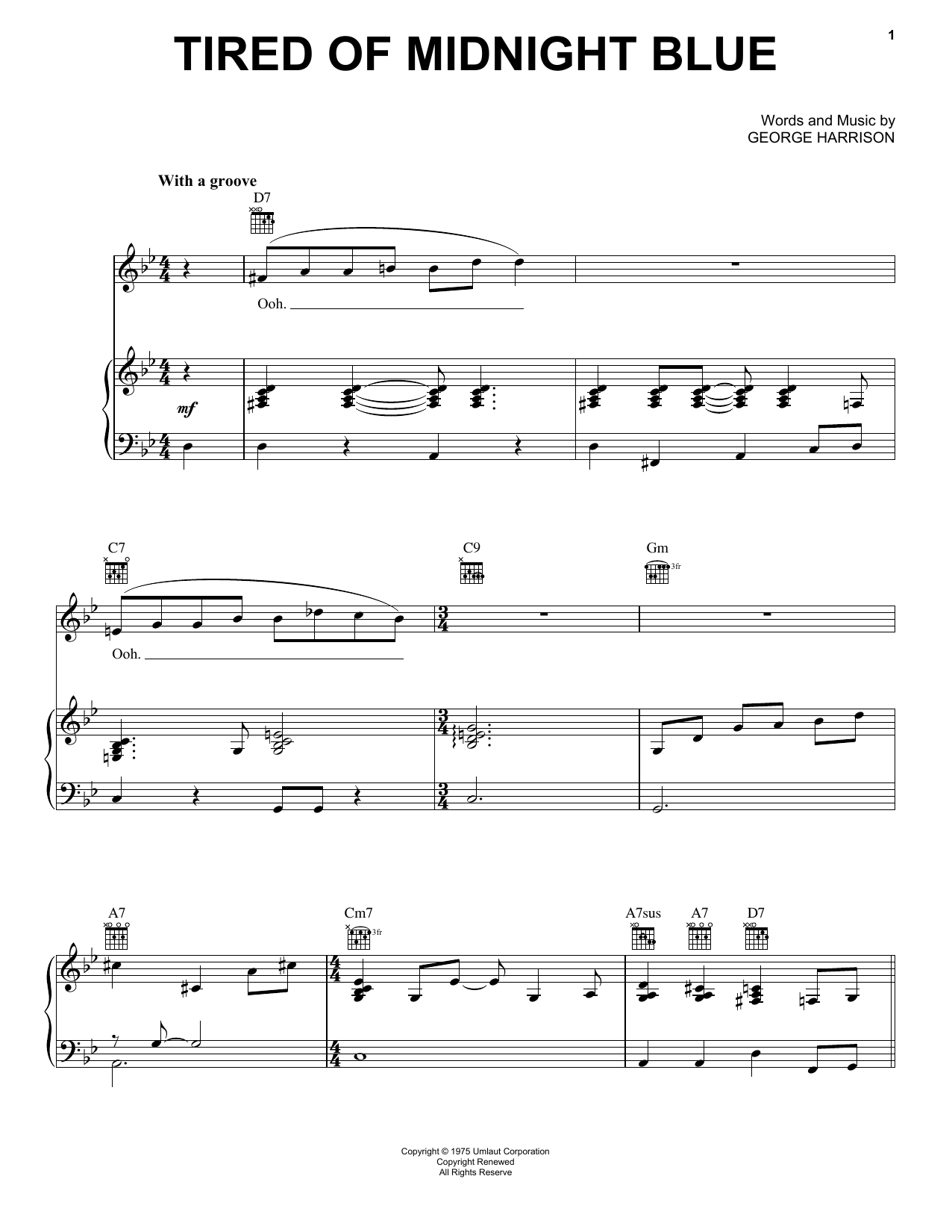 Tired Of Midnight Blue Sheet Music