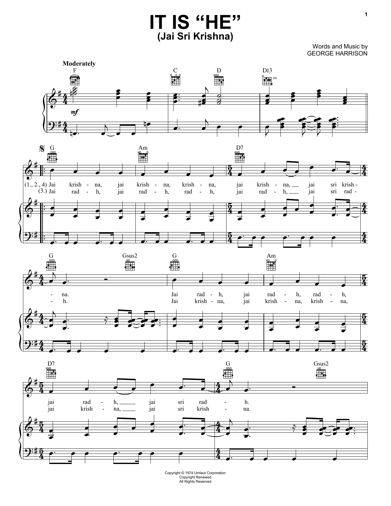 "Partition piano It Is ""He"" (Jai Sri Krishna) de George Harrison - Piano Voix Guitare (Mélodie Main Droite)"