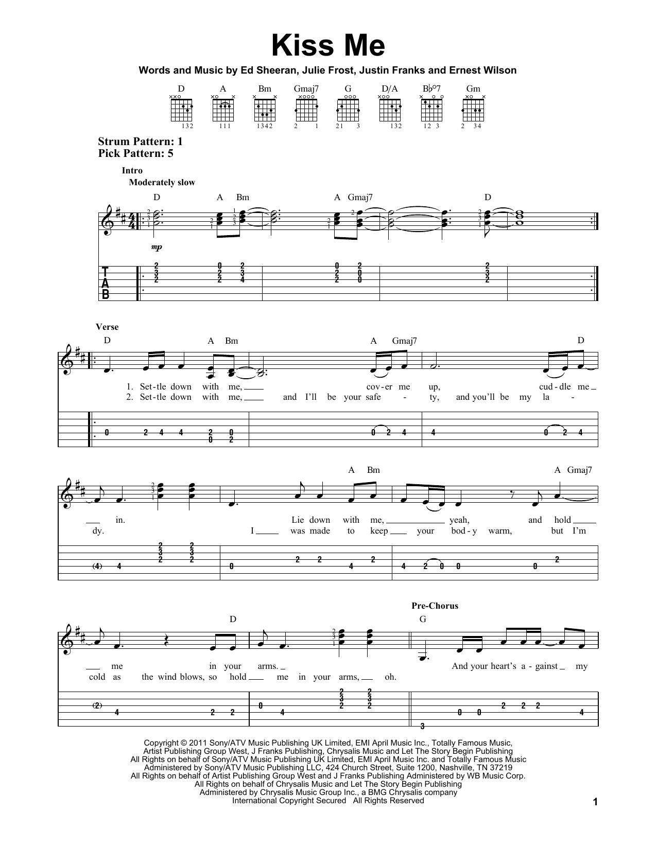Tablature guitare Kiss Me de Ed Sheeran - Tablature guitare facile