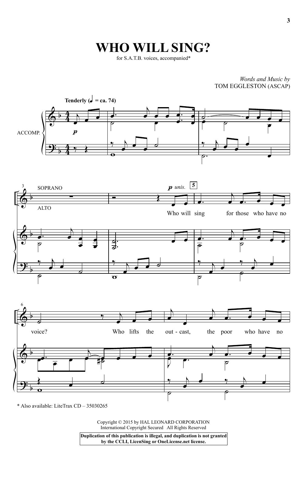 Partition chorale Who Will Sing? de Tom Eggleston - SATB