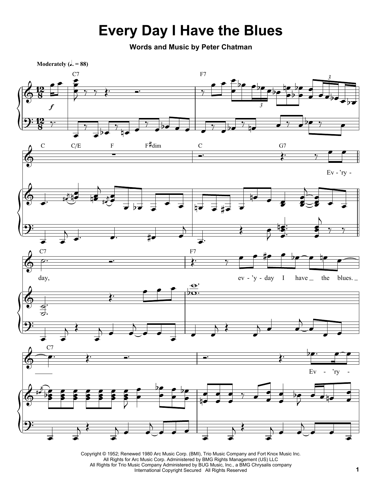 Every Day I Have The Blues Sheet Music
