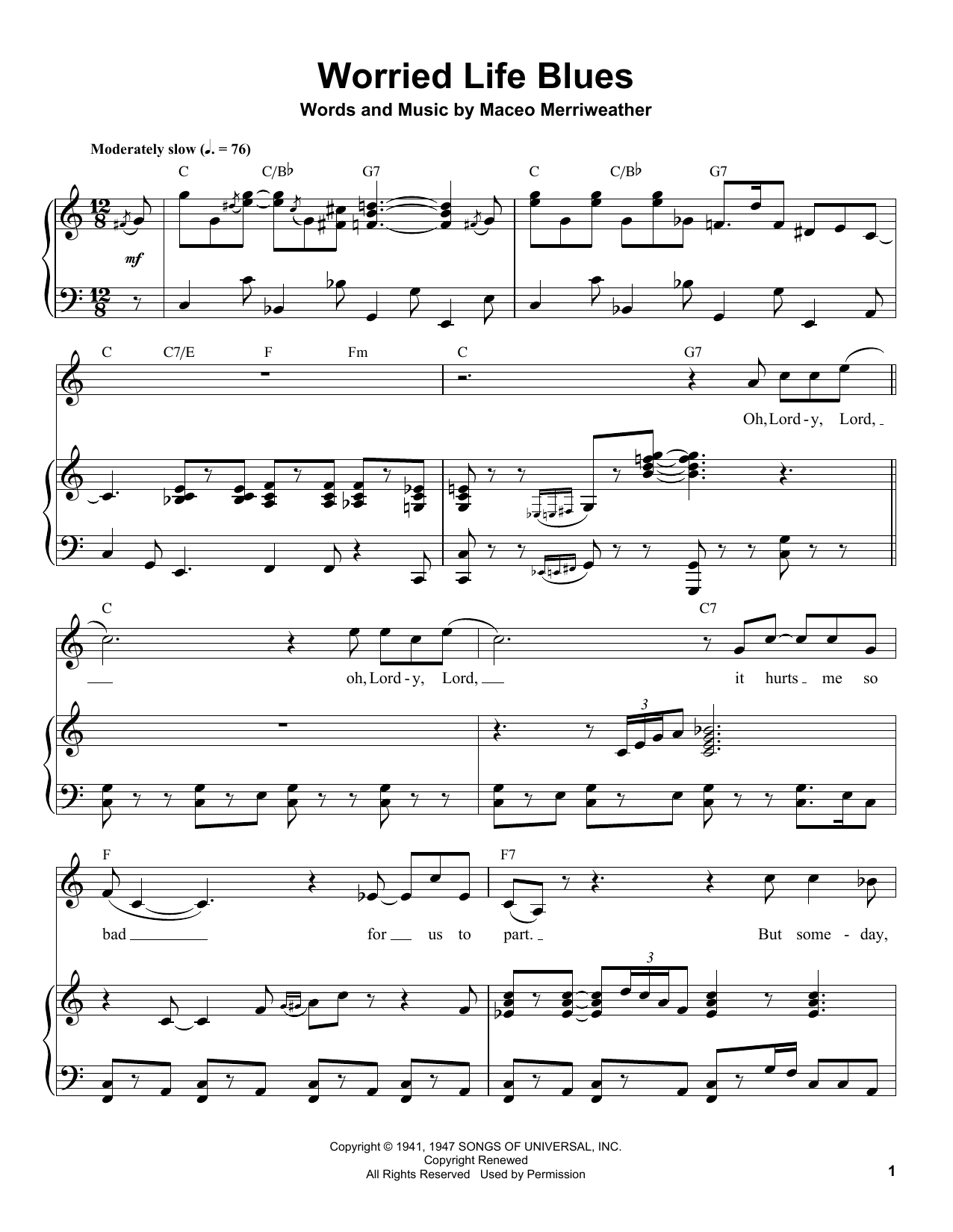 Worried Life Blues Sheet Music