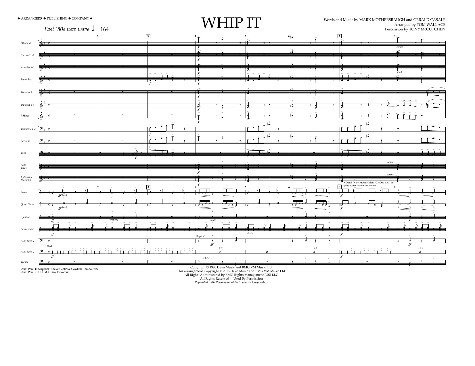 Whip It (COMPLETE) sheet music for marching band by Tom Wallace, Devo and Mark Mothersbaugh. Score Image Preview.