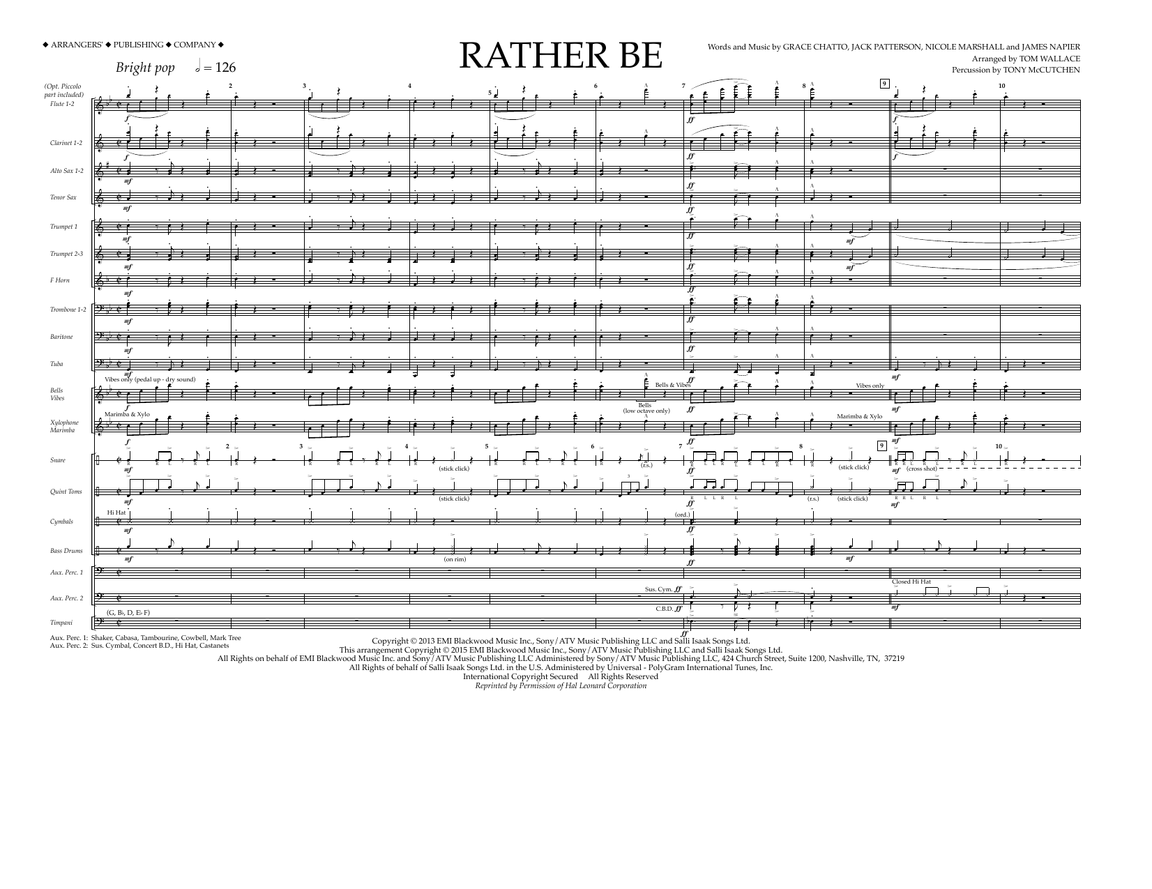 Rather Be (COMPLETE) sheet music for marching band by Tom Wallace, Grace Chatto, James Napier and Nicole Marshall. Score Image Preview.