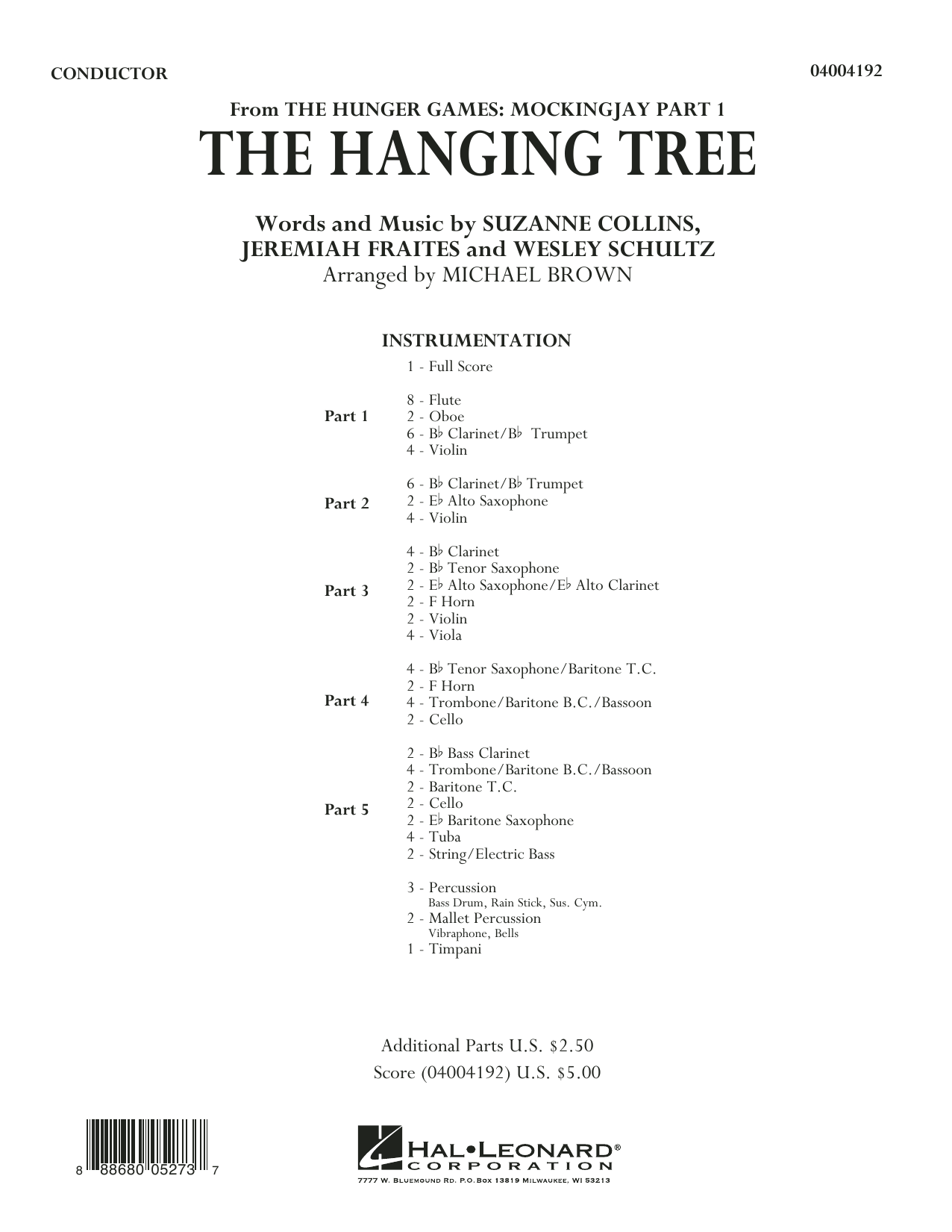 The Hanging Tree (from The Hunger Games: Mockingjay Part 1) - Conductor Score (Full Score) (Flex-Band)