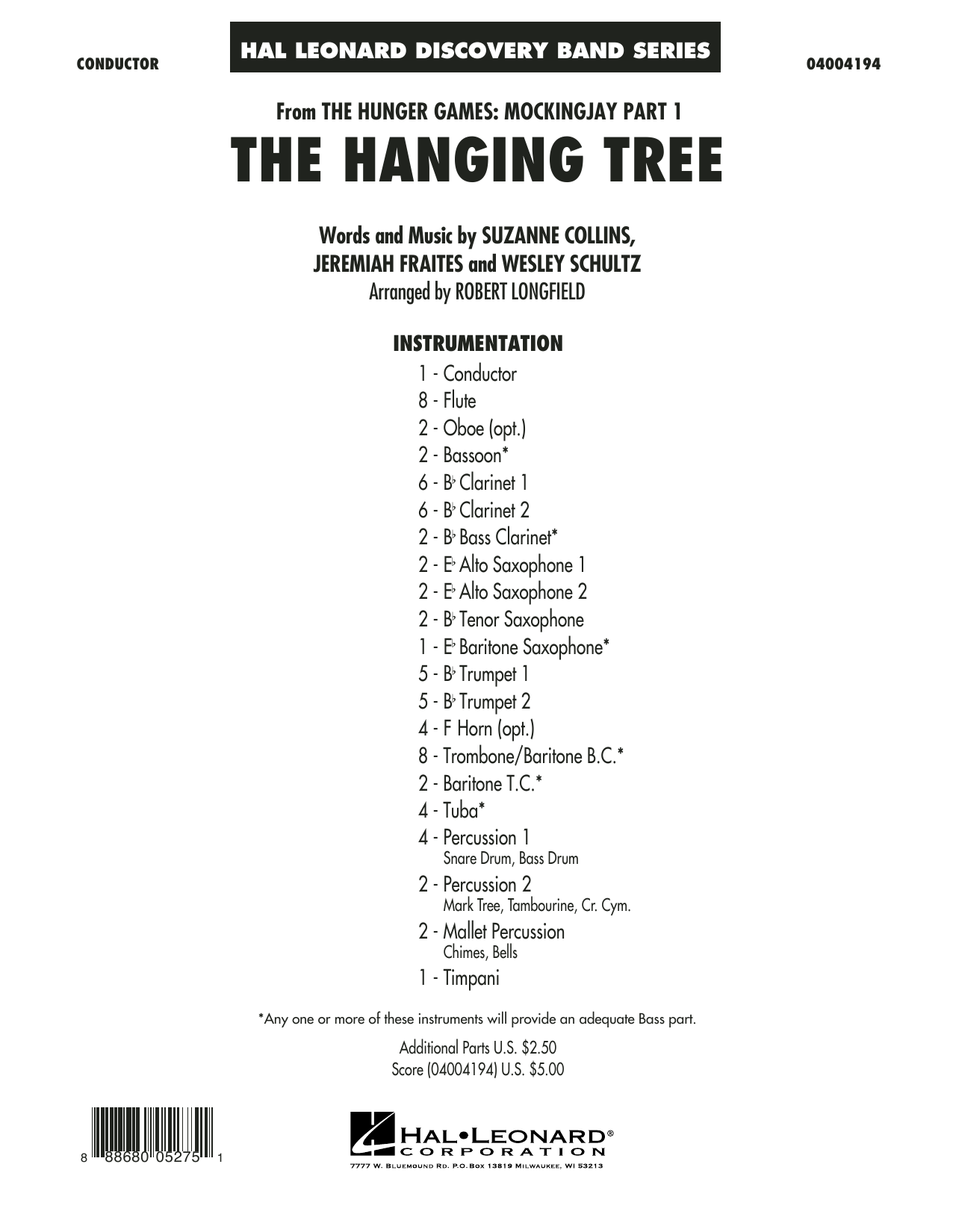 The Hanging Tree (from The Hunger Games: Mockingjay Part 1) - Conductor Score (Full Score) (Concert Band)