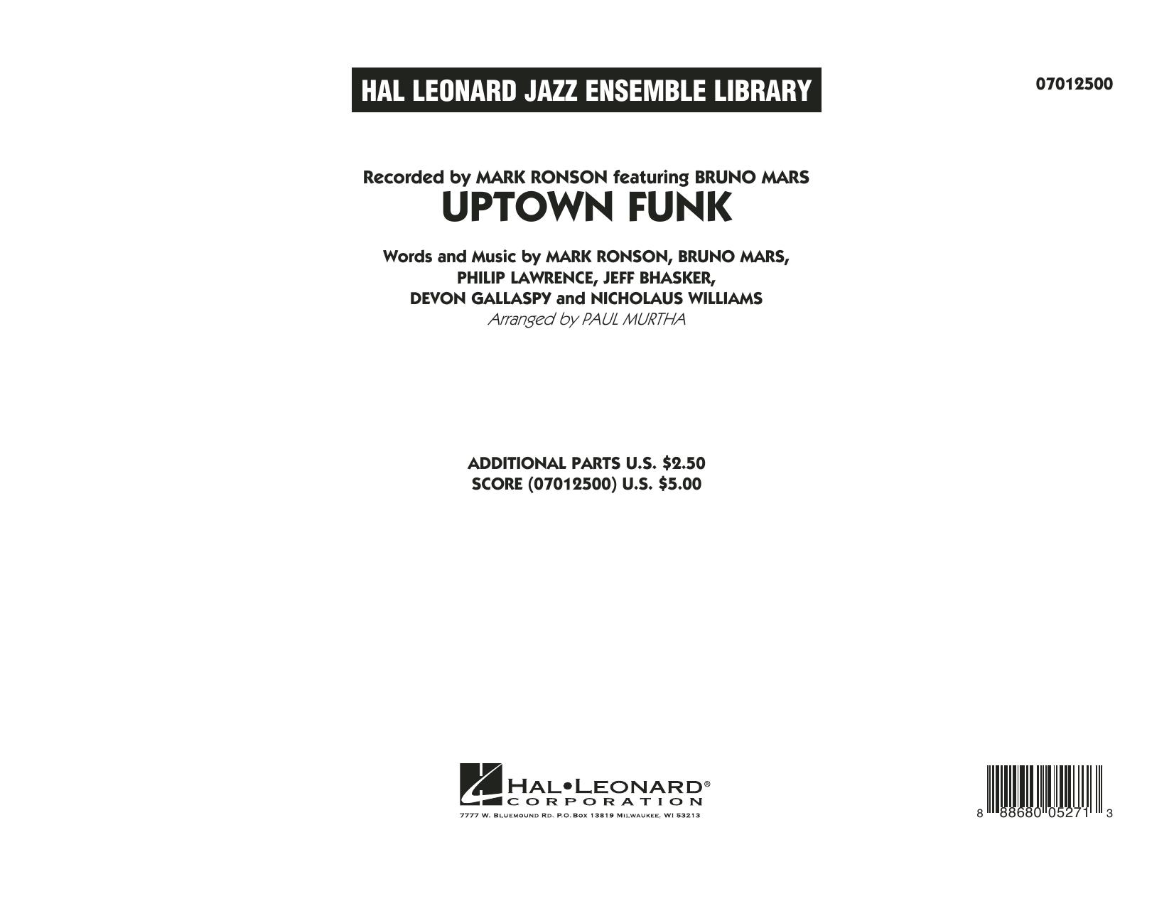 Uptown Funk! - Conductor Score (Full Score) (Jazz Ensemble)
