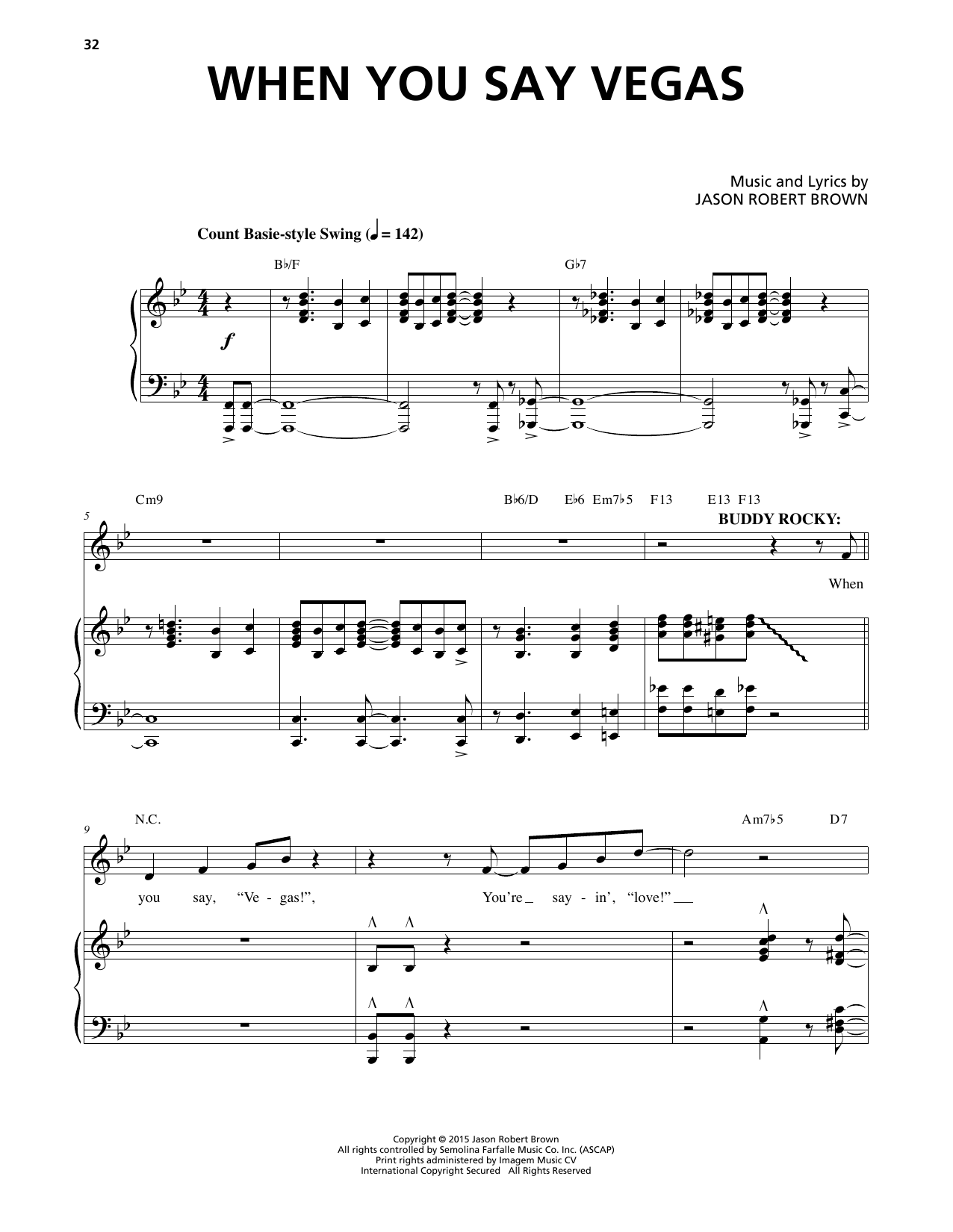 When You Say Vegas (from Honeymoon In Vegas) Sheet Music