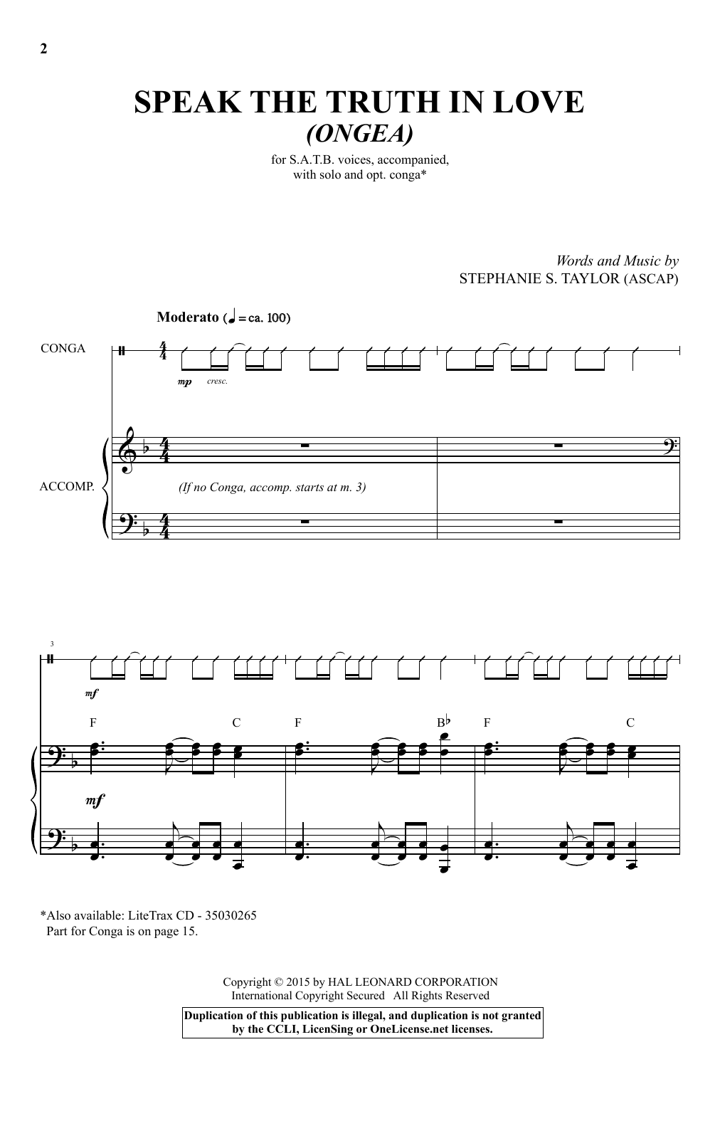 Partition autre Speak The Truth In Love (Ongea) de Stephanie S. Taylor - SATB