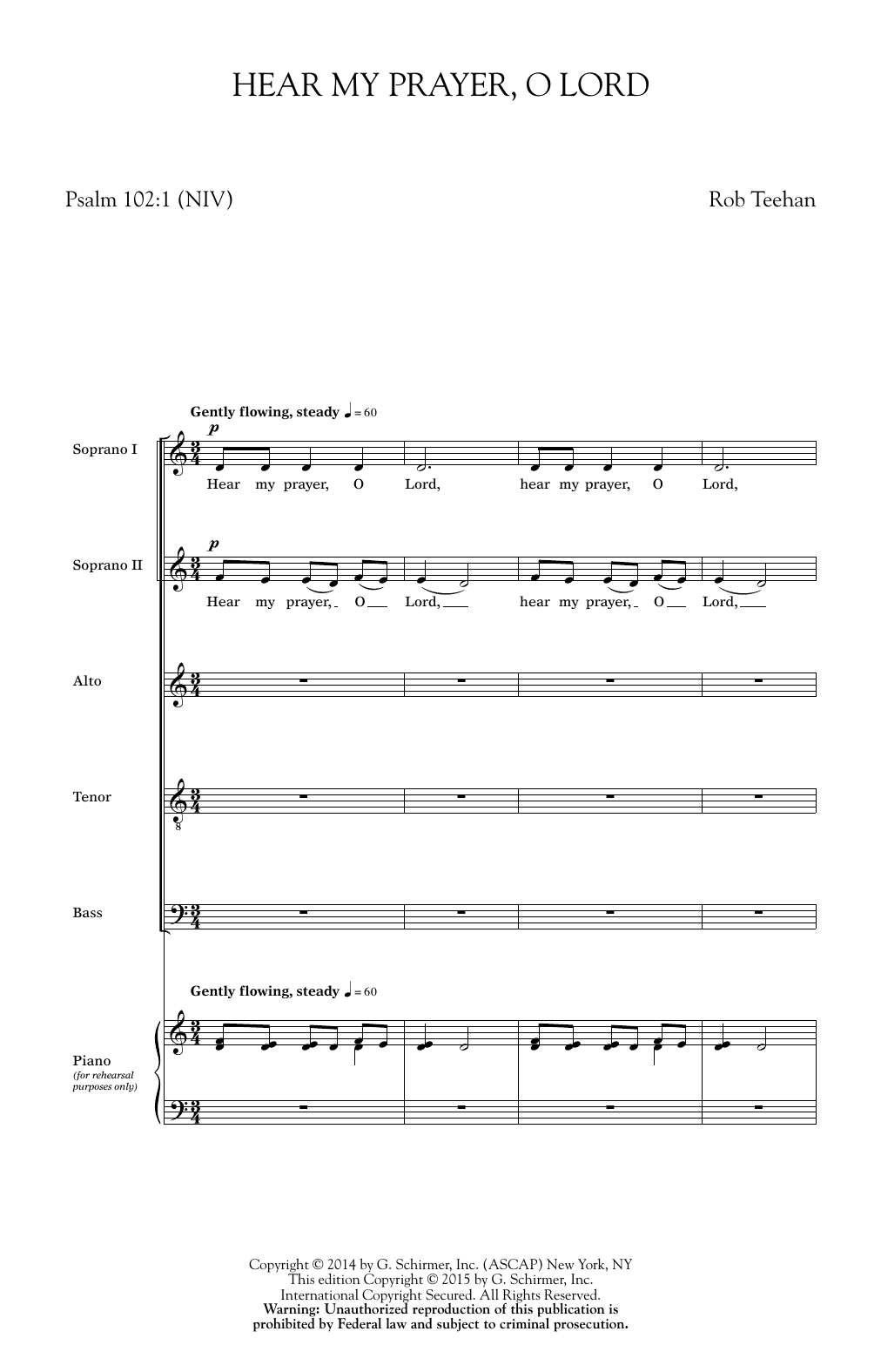 Hear My Prayer, O Lord Sheet Music