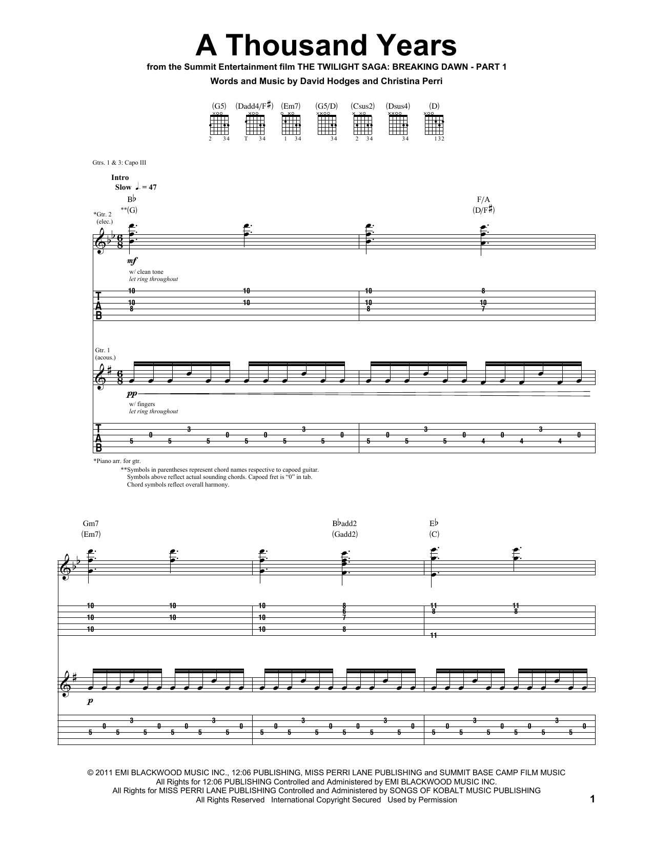 Tablature guitare A Thousand Years de Christina Perri - Tablature Guitare