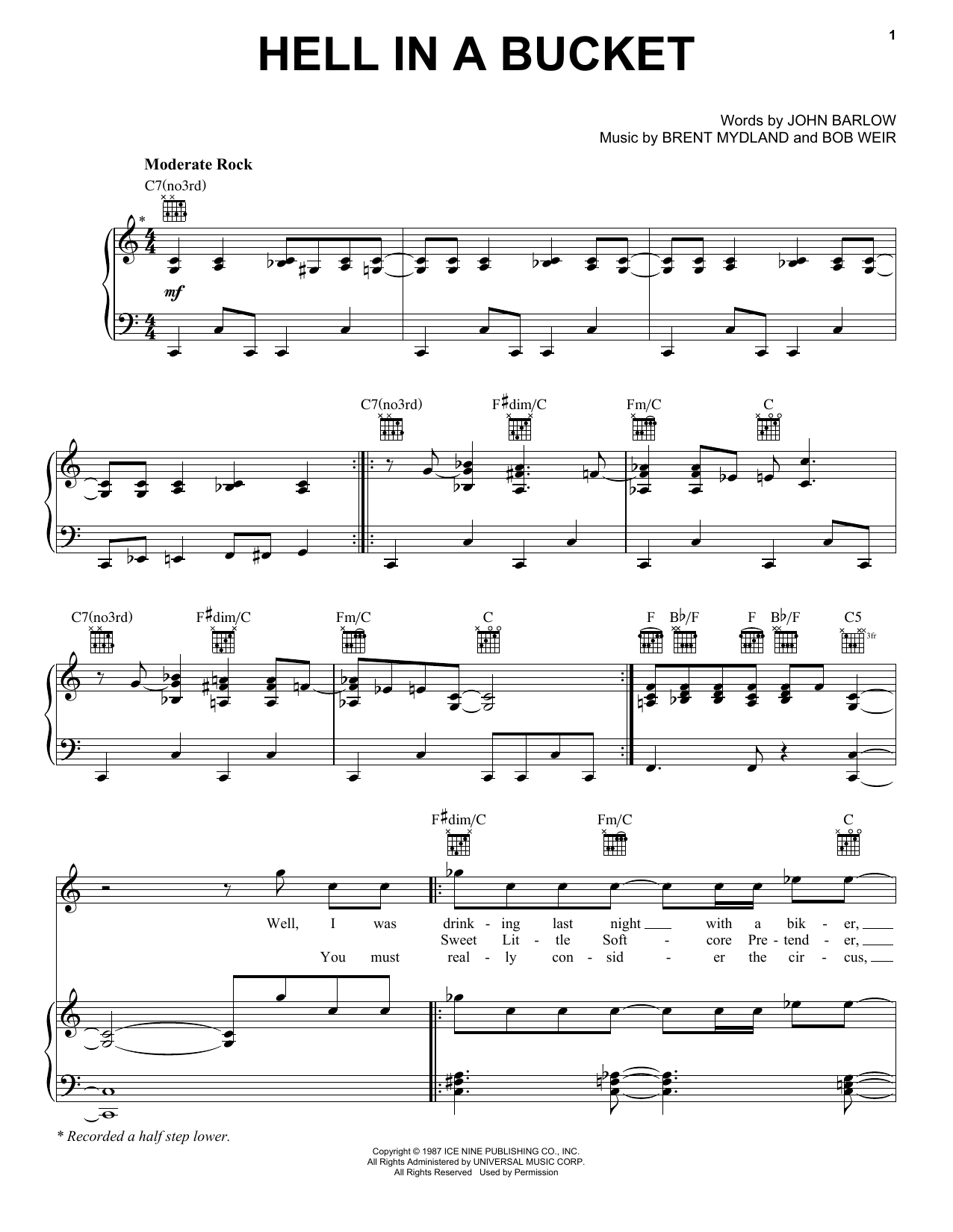 Hell In A Bucket (Piano, Vocal & Guitar (Right-Hand Melody))