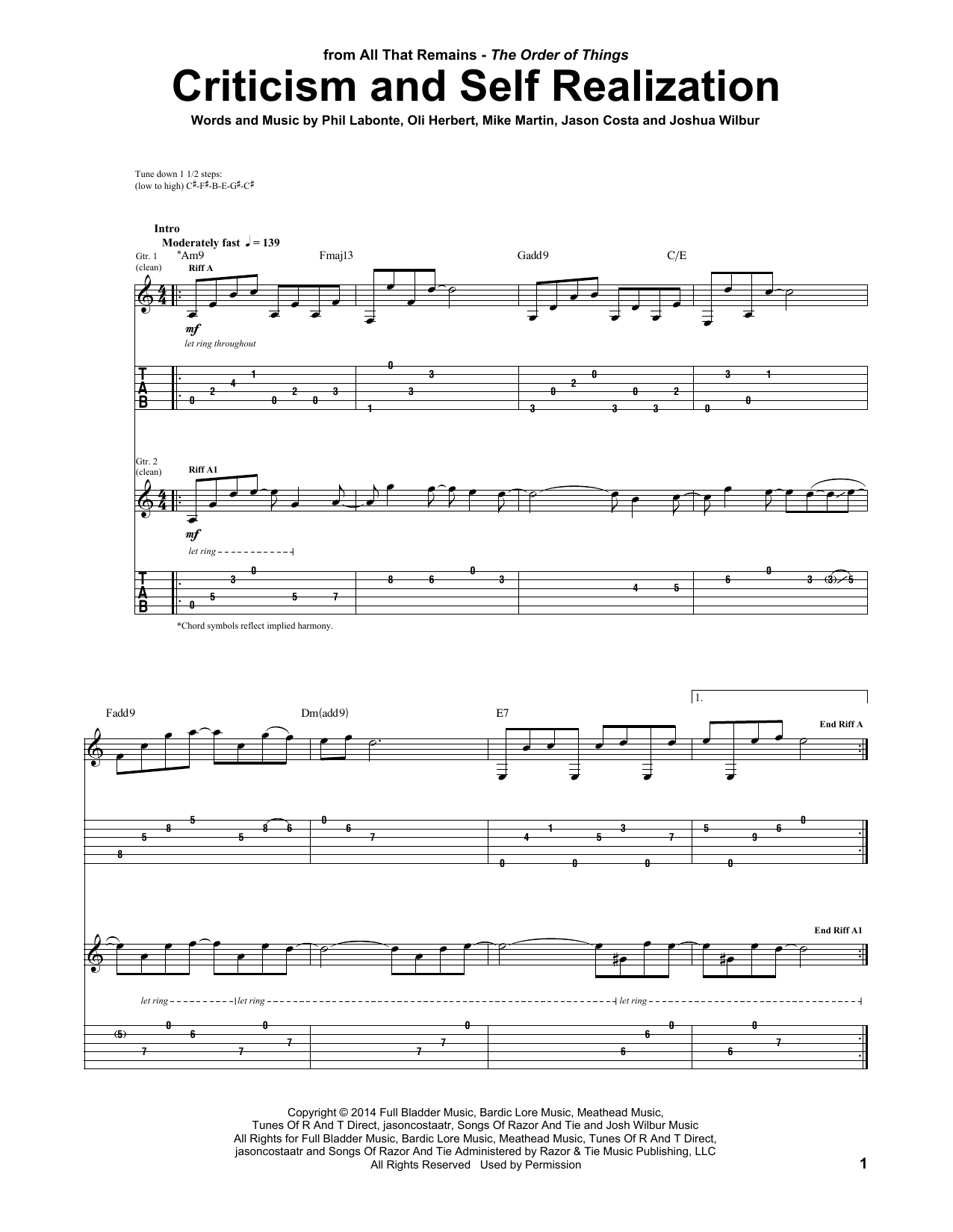 Criticism And Self Realization Sheet Music