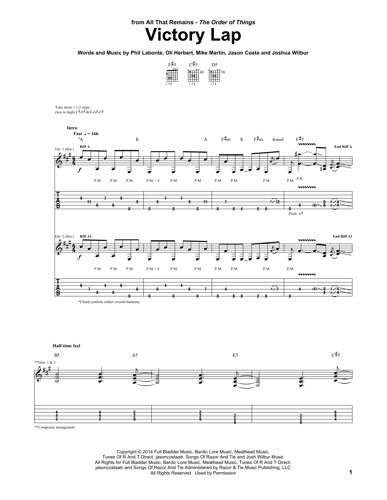 Tablature guitare Victory Lap de All That Remains - Tablature Guitare