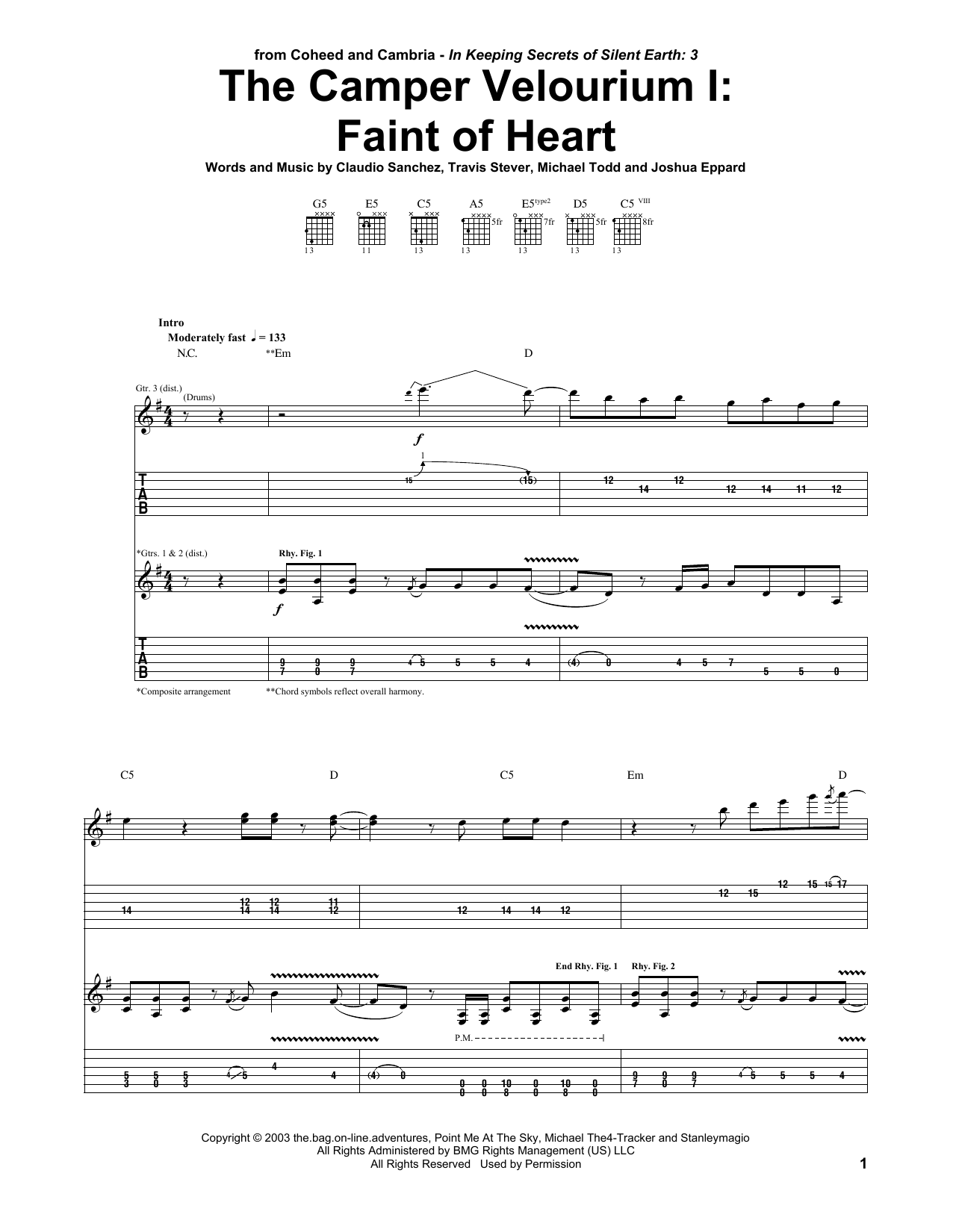 The Camper Velourium I: Faint Of Heart (Guitar Tab)