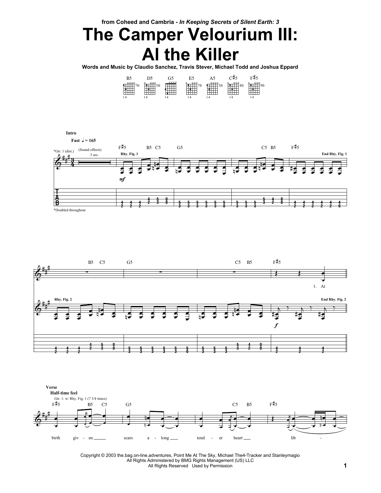 The Camper Velourium III: Al The Killer Sheet Music