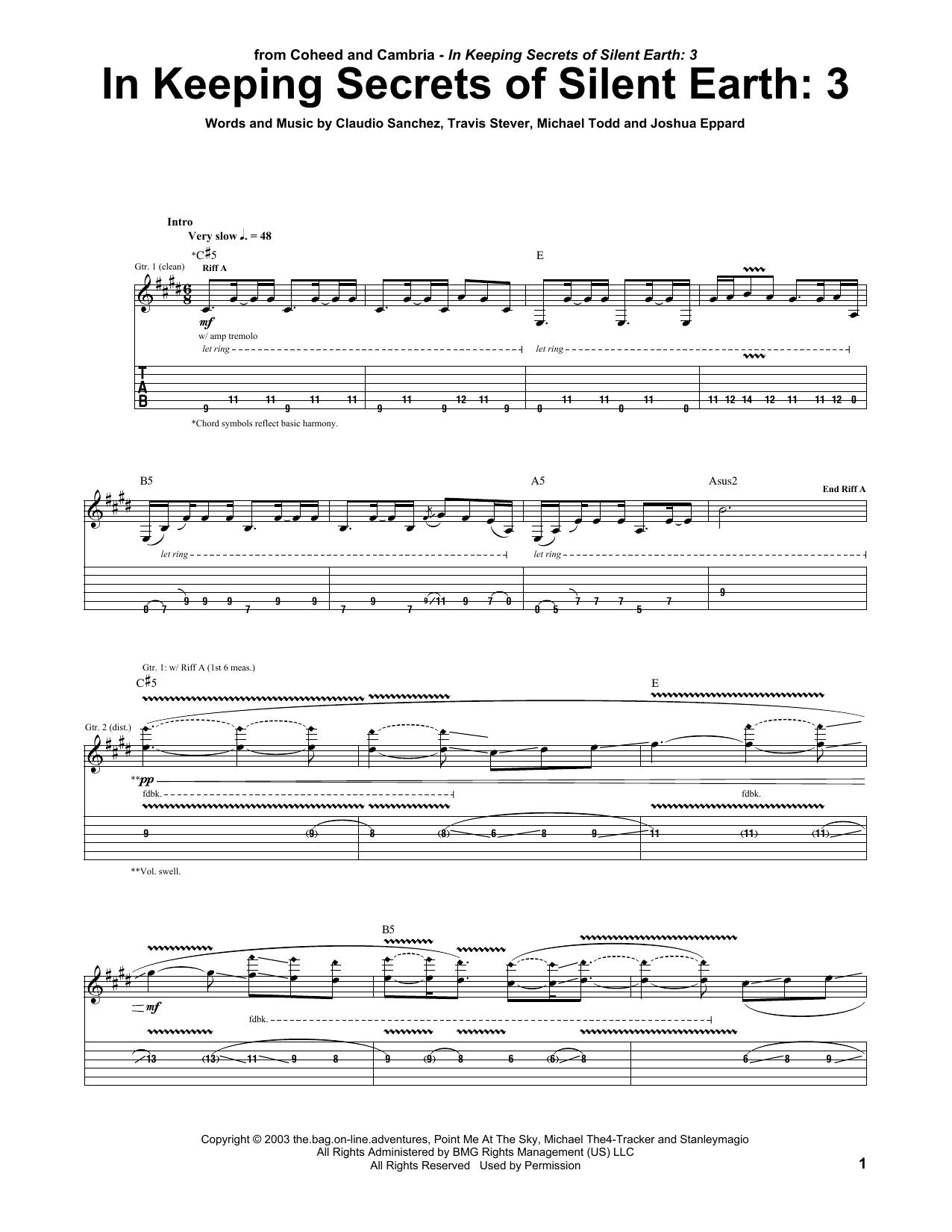 In Keeping Secrets Of Silent Earth: 3 Sheet Music