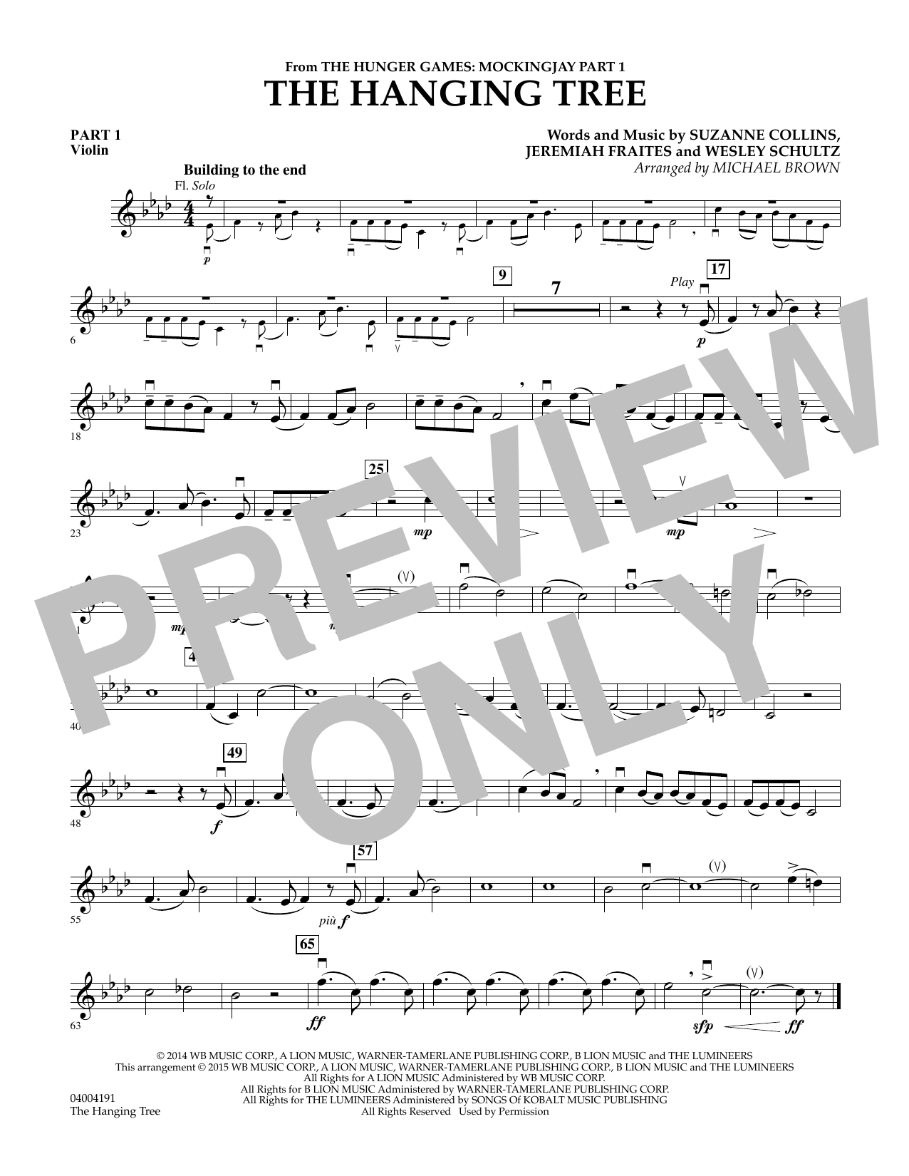 The Hanging Tree (from The Hunger Games: Mockingjay Part 1) - Pt.1 - Violin (Flex-Band)