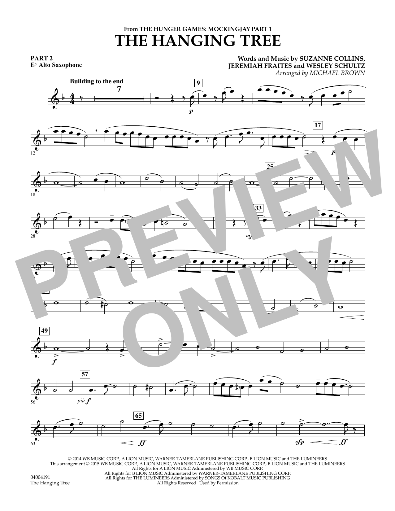 The Hanging Tree (from The Hunger Games: Mockingjay Part 1) - Pt.2 - Eb Alto Saxophone (Flex-Band)